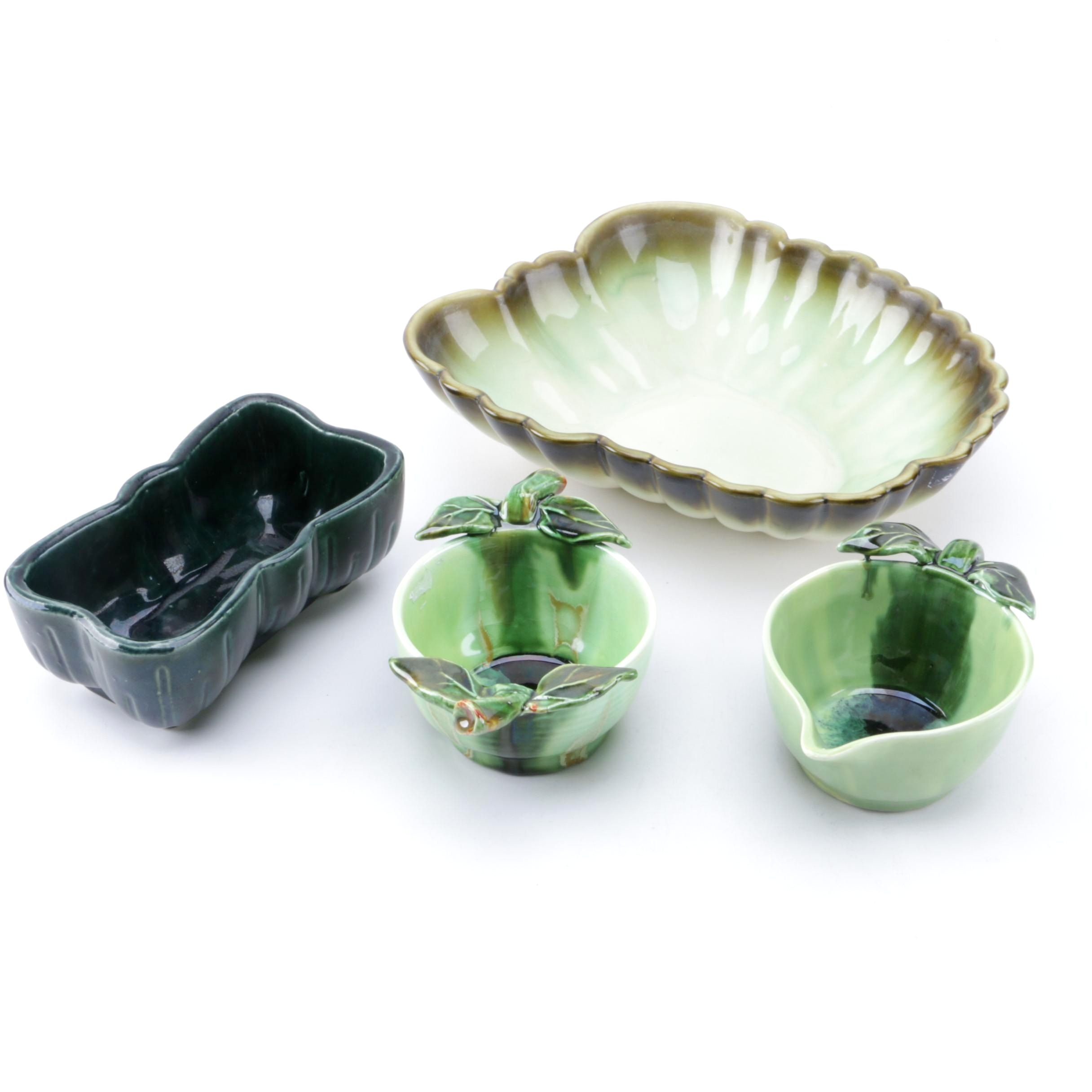 Melrose Pottery and Hall Pottery Planters with Ceramic Tableware
