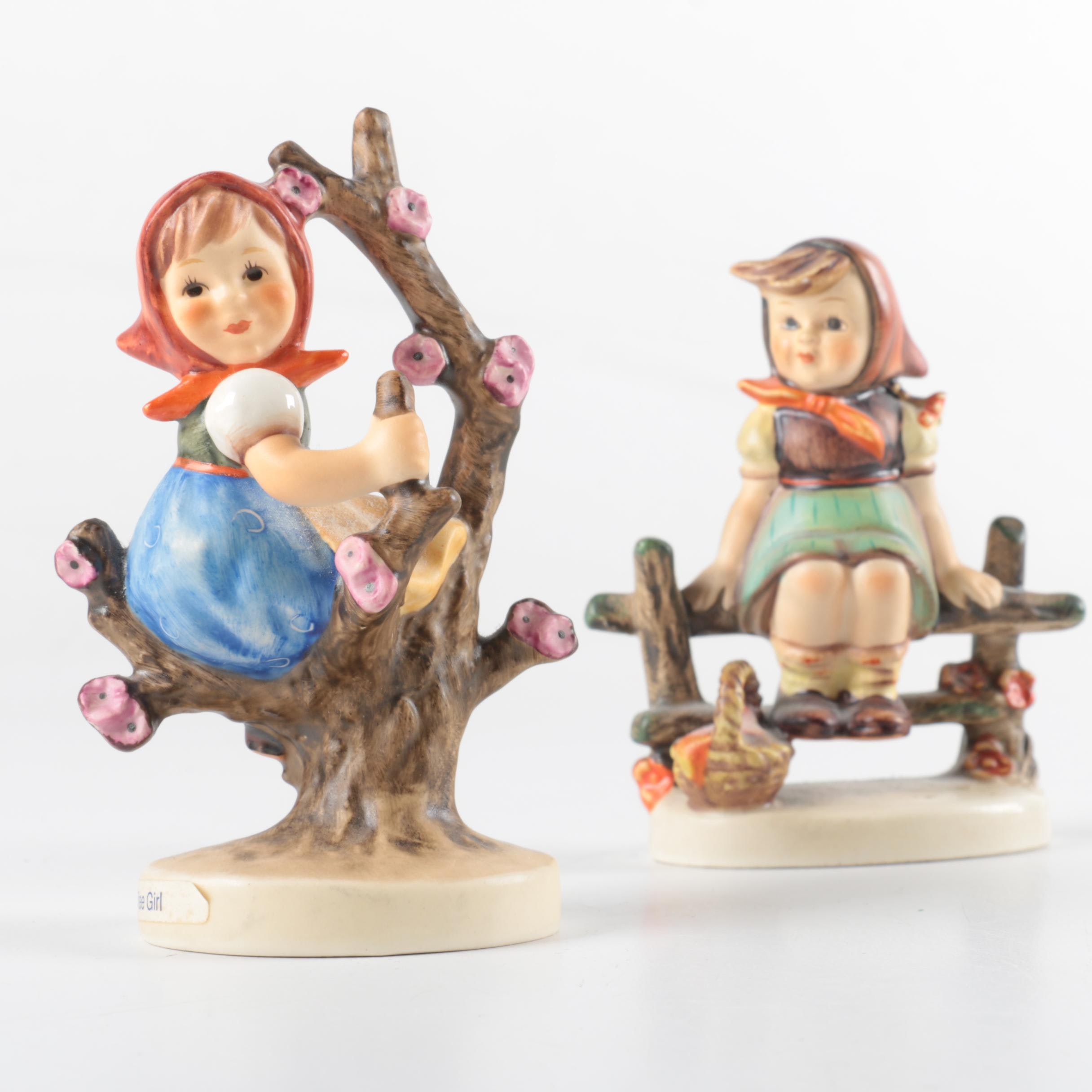 "Hummel ""Apple Tree Girl"" and ""Just Resting"" Porcelain Figurines"
