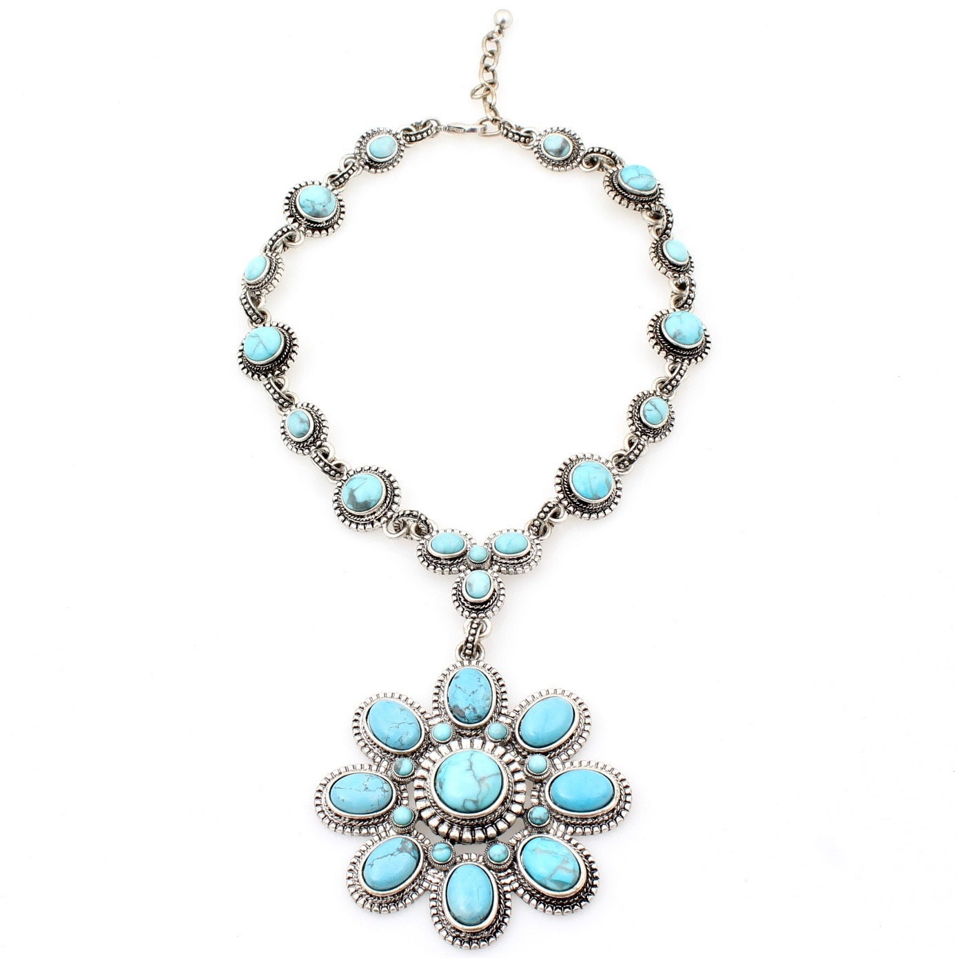 Silver Tone and Faux Turquoise Necklace