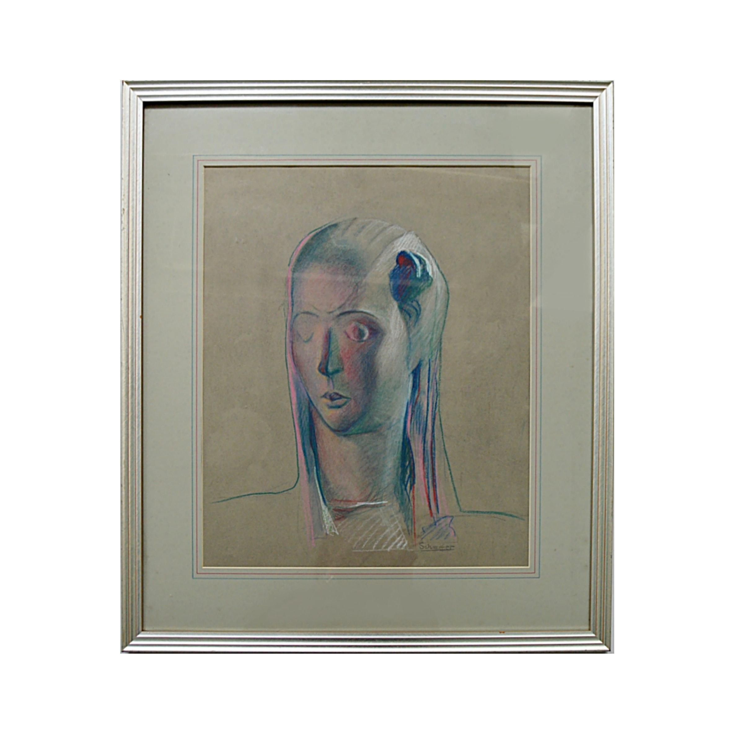 Mary Schaefer Original Signed Pastel on Paper Portrait