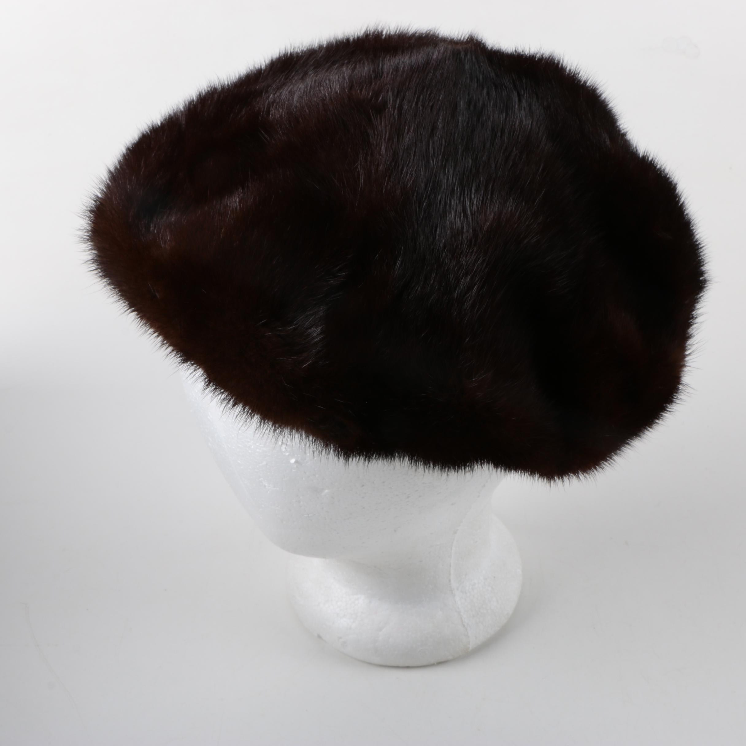 Vintage Dark Brown Mink Fur Hat and Hat Pin