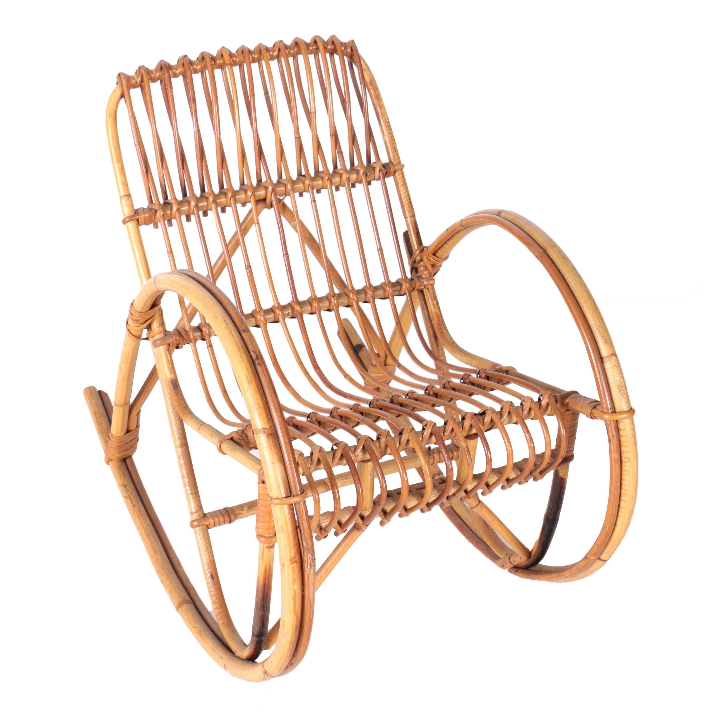 Mid-Century Bentwood Children's Rocker After Design by Franco Albini