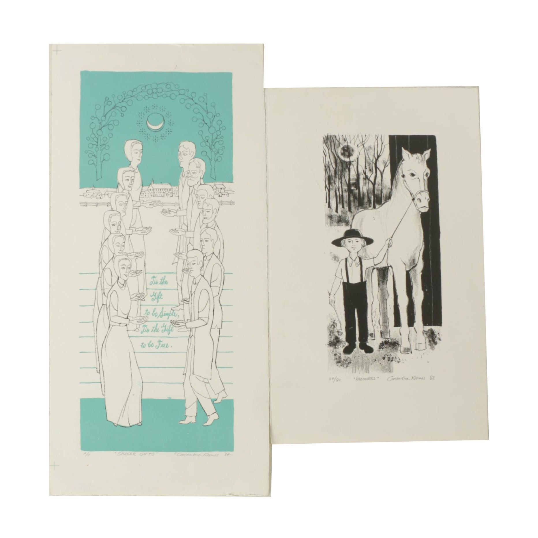 """Constantine Kermes Limited Edition Lithographs """"Pardners"""" and """"Shaker Gifts"""""""
