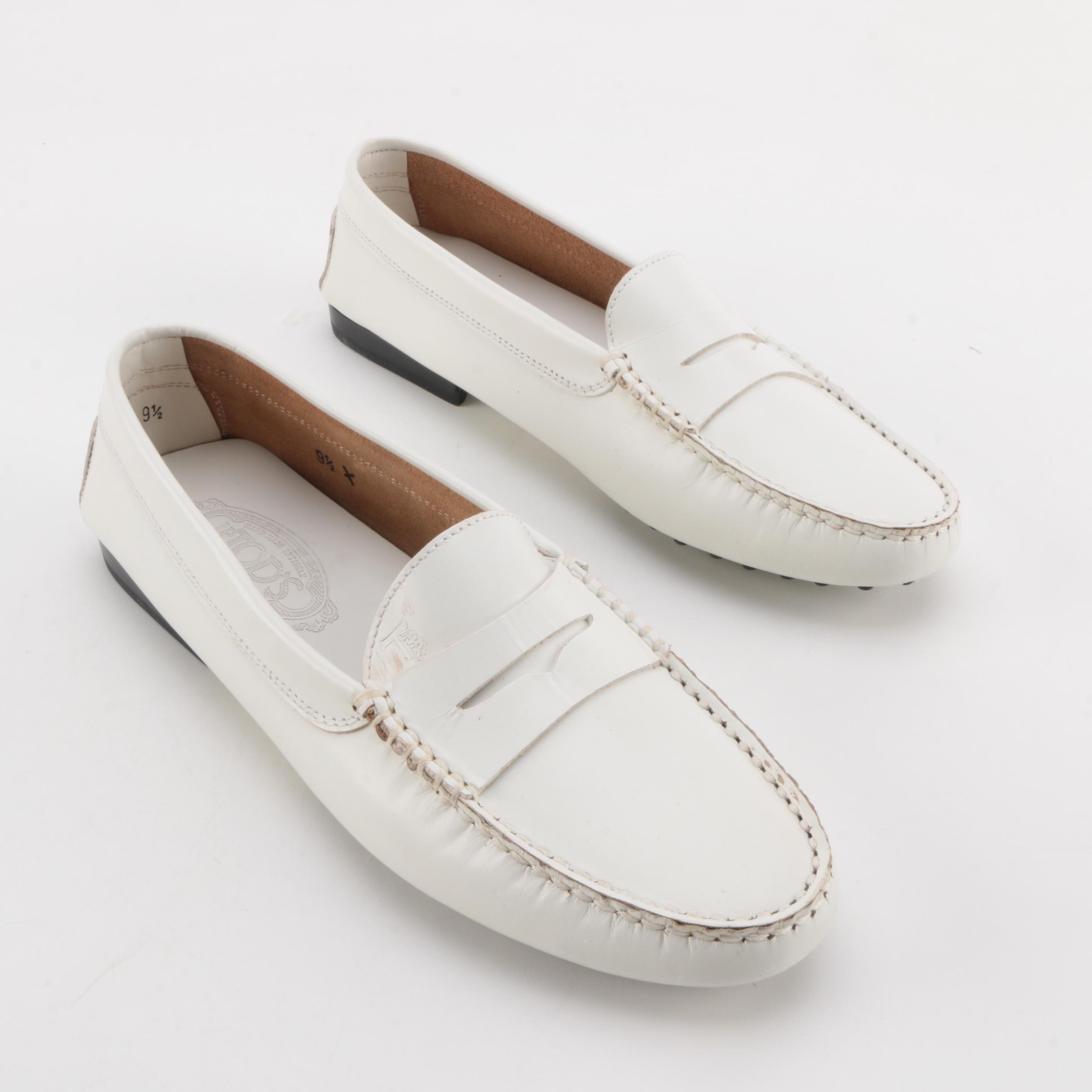 Women's Tod's Pellame White Leather Loafers