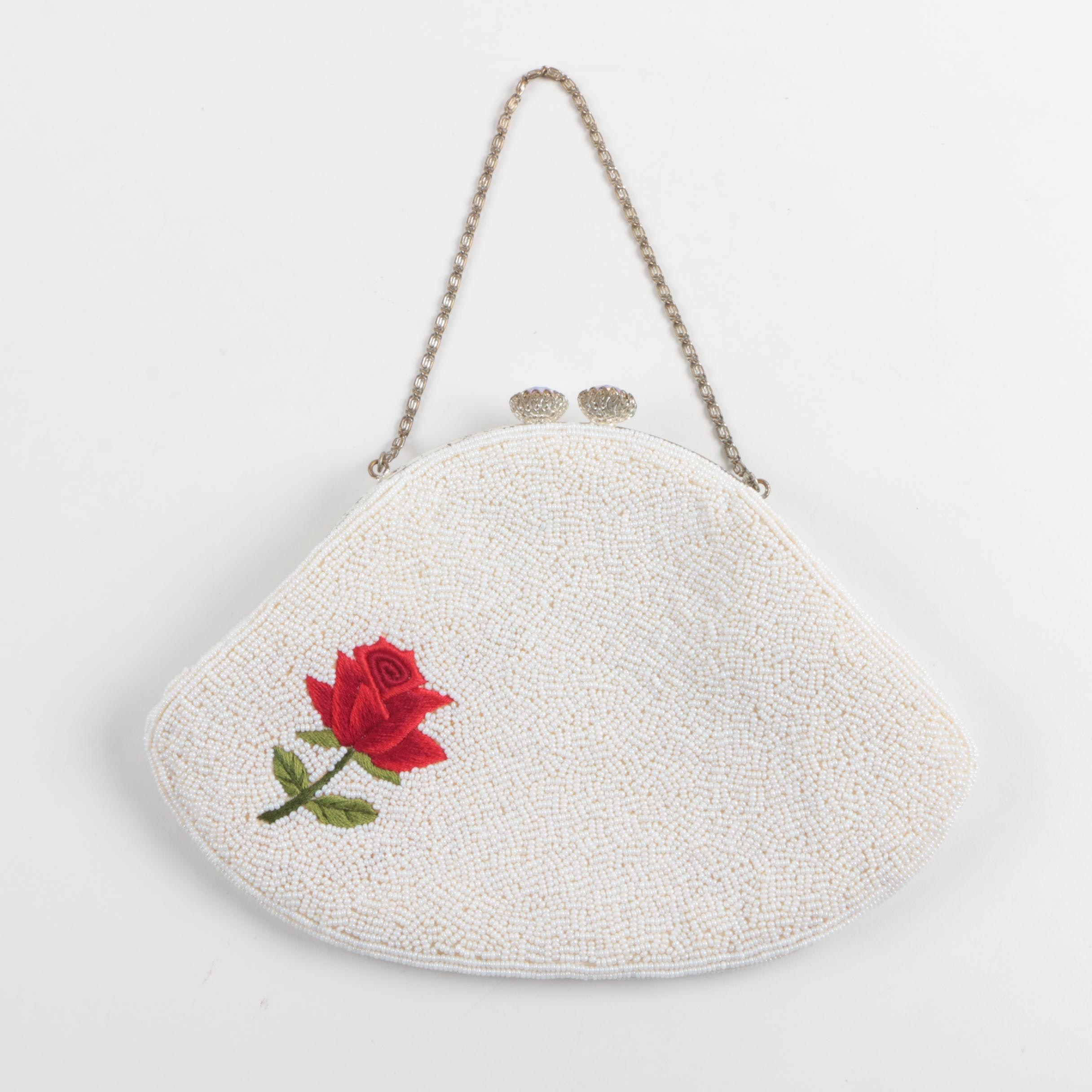 Vintage Beaded Purse with Embroidered Rose