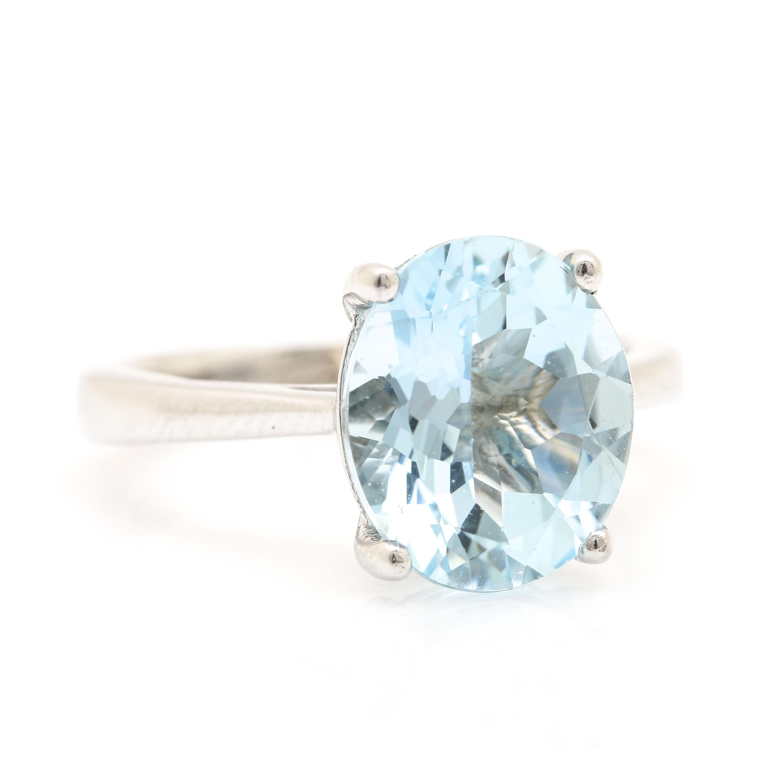 14K White Gold 3.11 CT Aquamarine Ring
