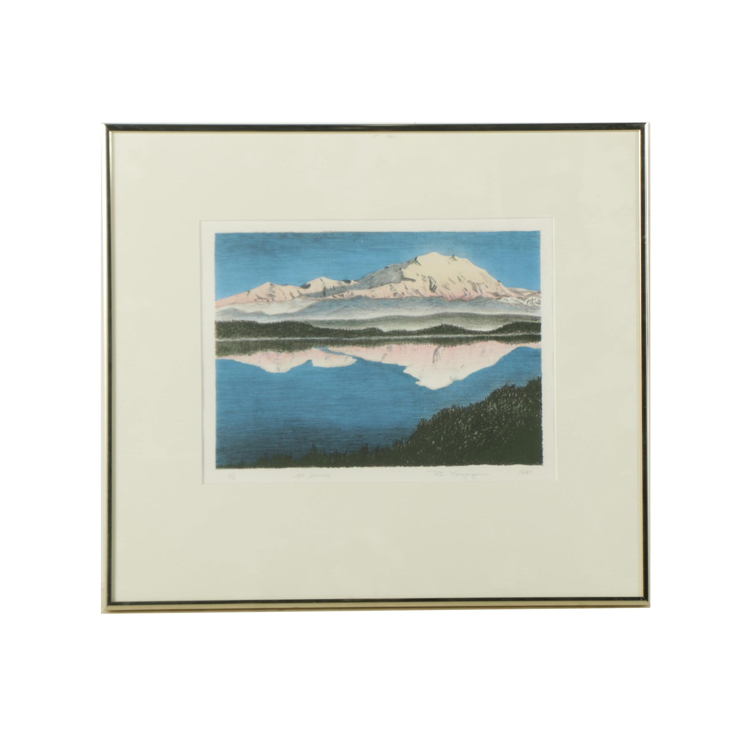 "R. Kazanjian 1987 Limited Edition Color Lithograph on Paper ""Mt. Denali"""