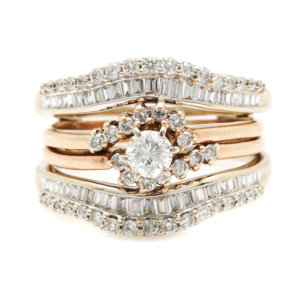 14K Two-Tone Gold 1.75 CTW Diamond Wedding Ring Set