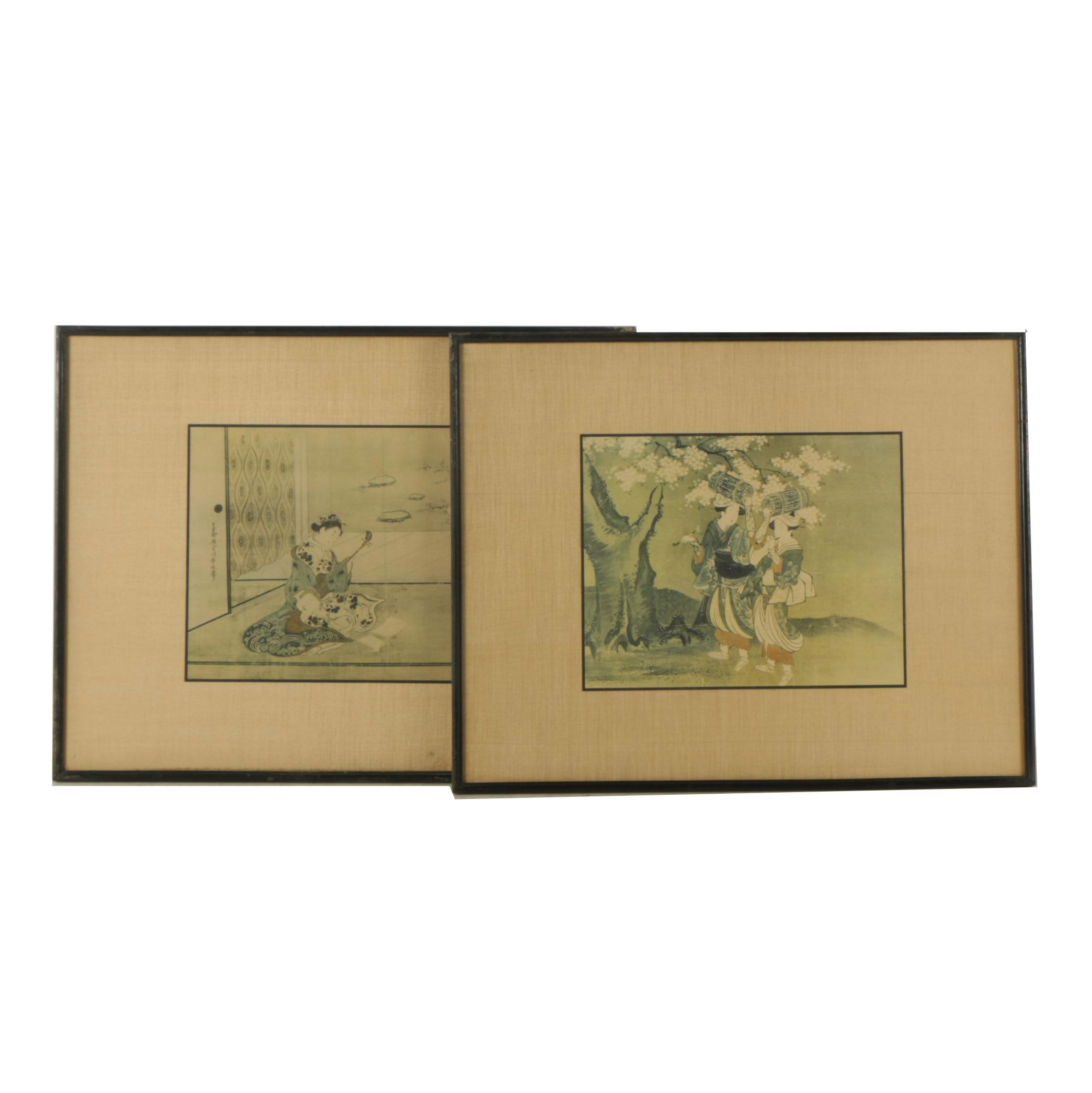 Collograph Prints Mounted to Silk After Edo Period Japanese Woodblock Prints