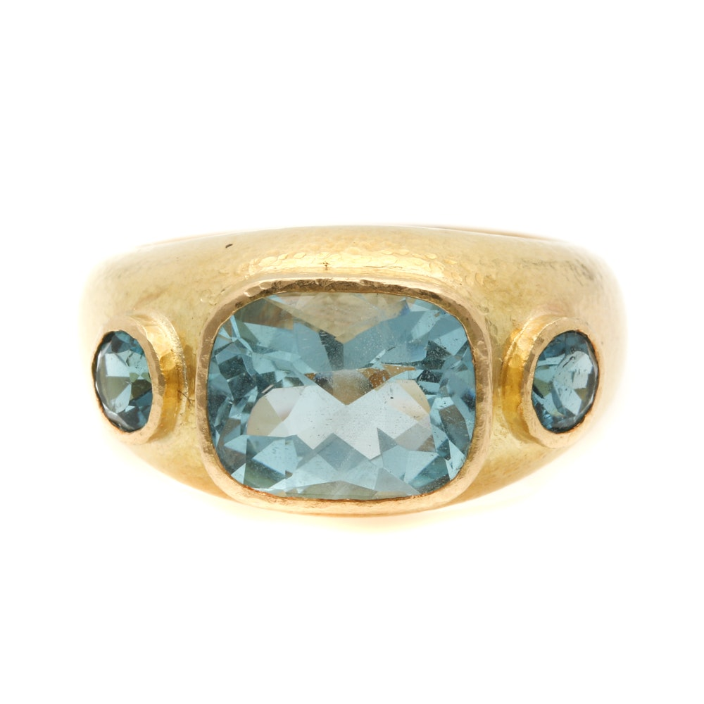 18K Yellow Gold 3.38 CTW Aquamarine Ring