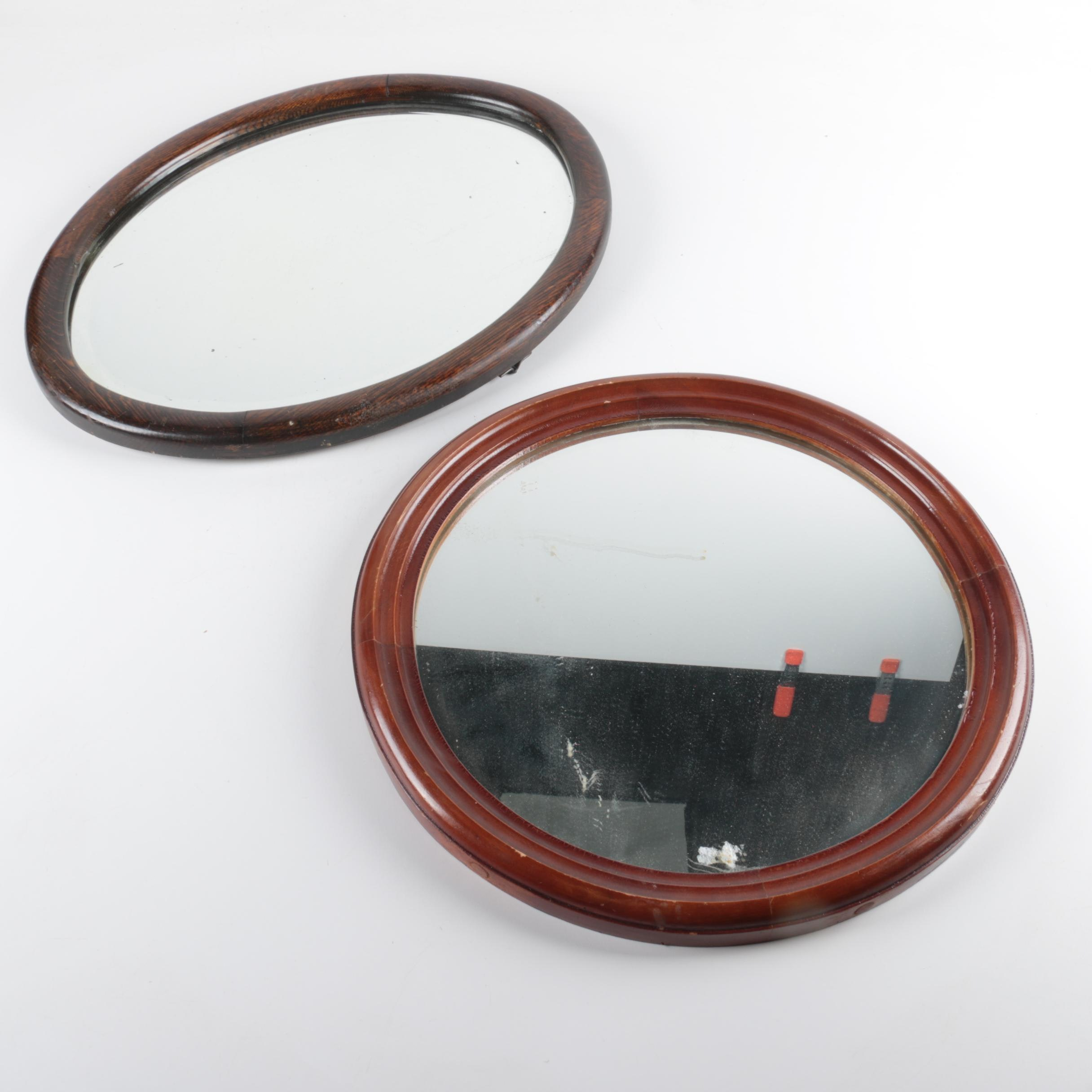 Round and Oval Wall  Mirrors with Wood Frames