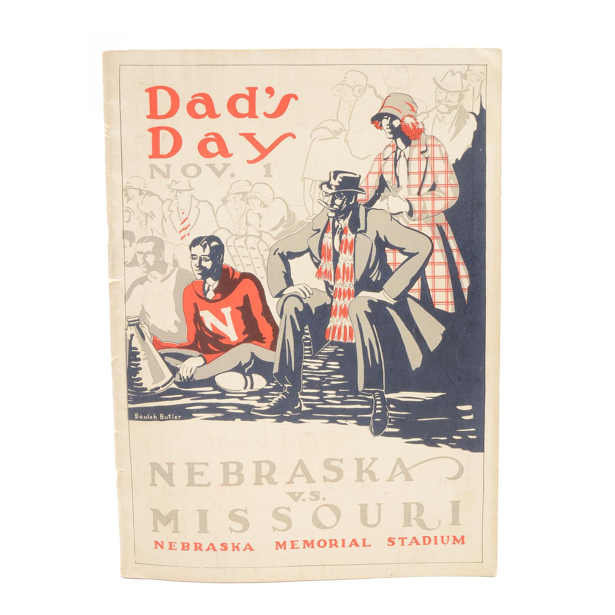 1924 University Of Nebraska Vs. Missouri Football Program