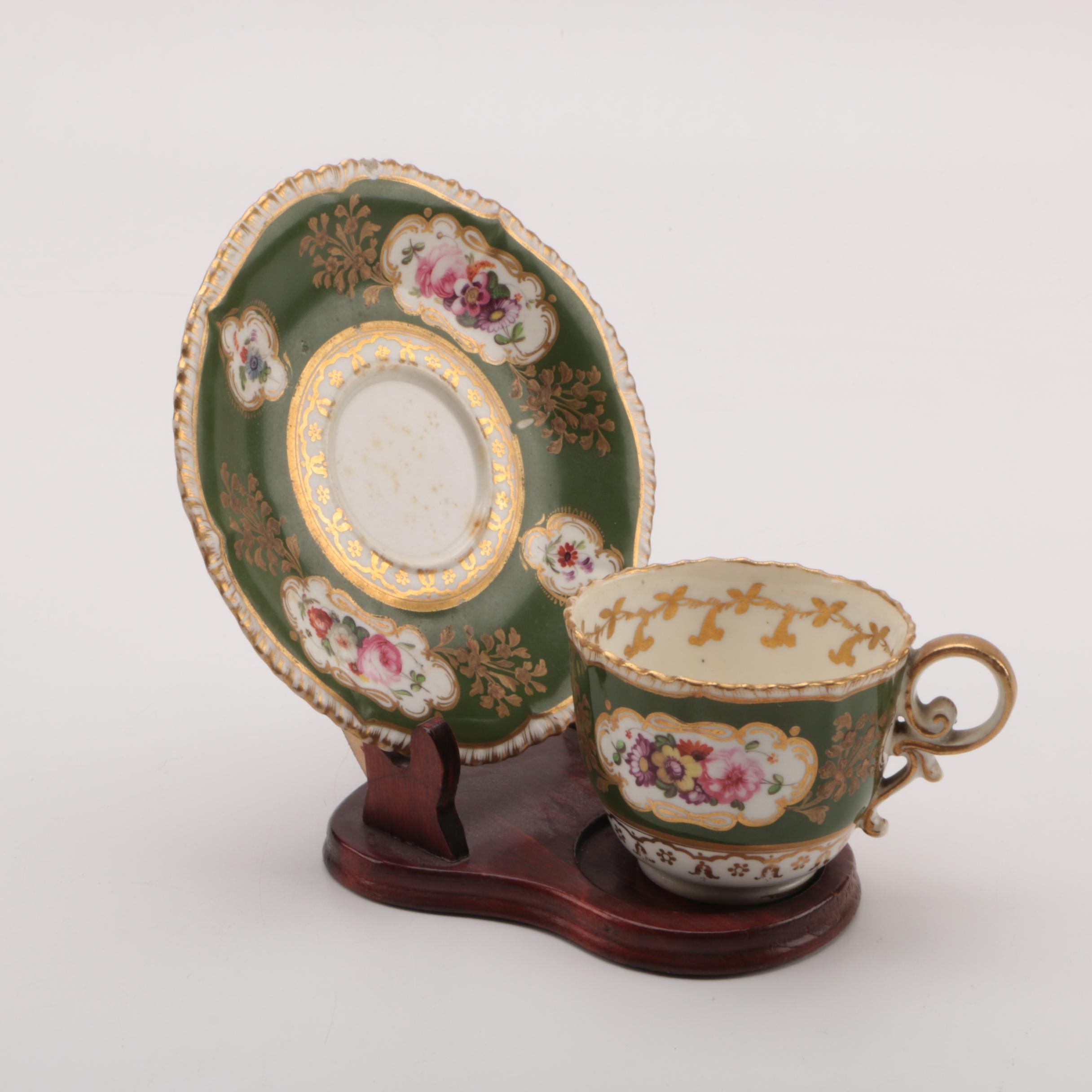 Antique English Porcelain Teacup and Saucer