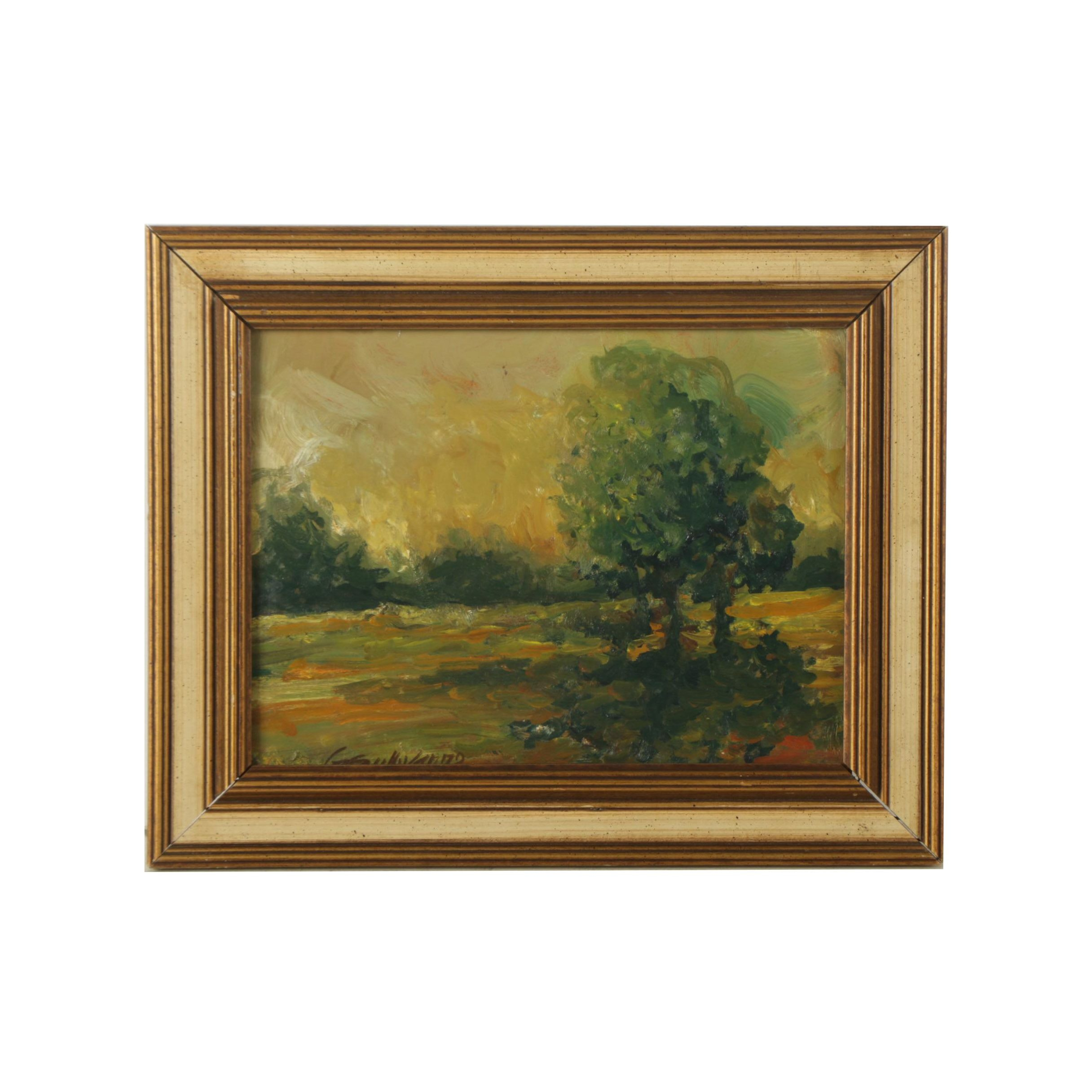 "Gregory Sullivan Oil Painting on Board ""Washington County Landscape"""