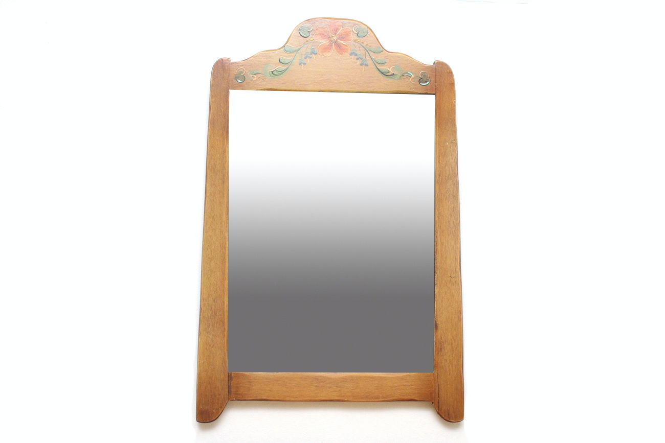 Hand Painted Oak Wall Mirror