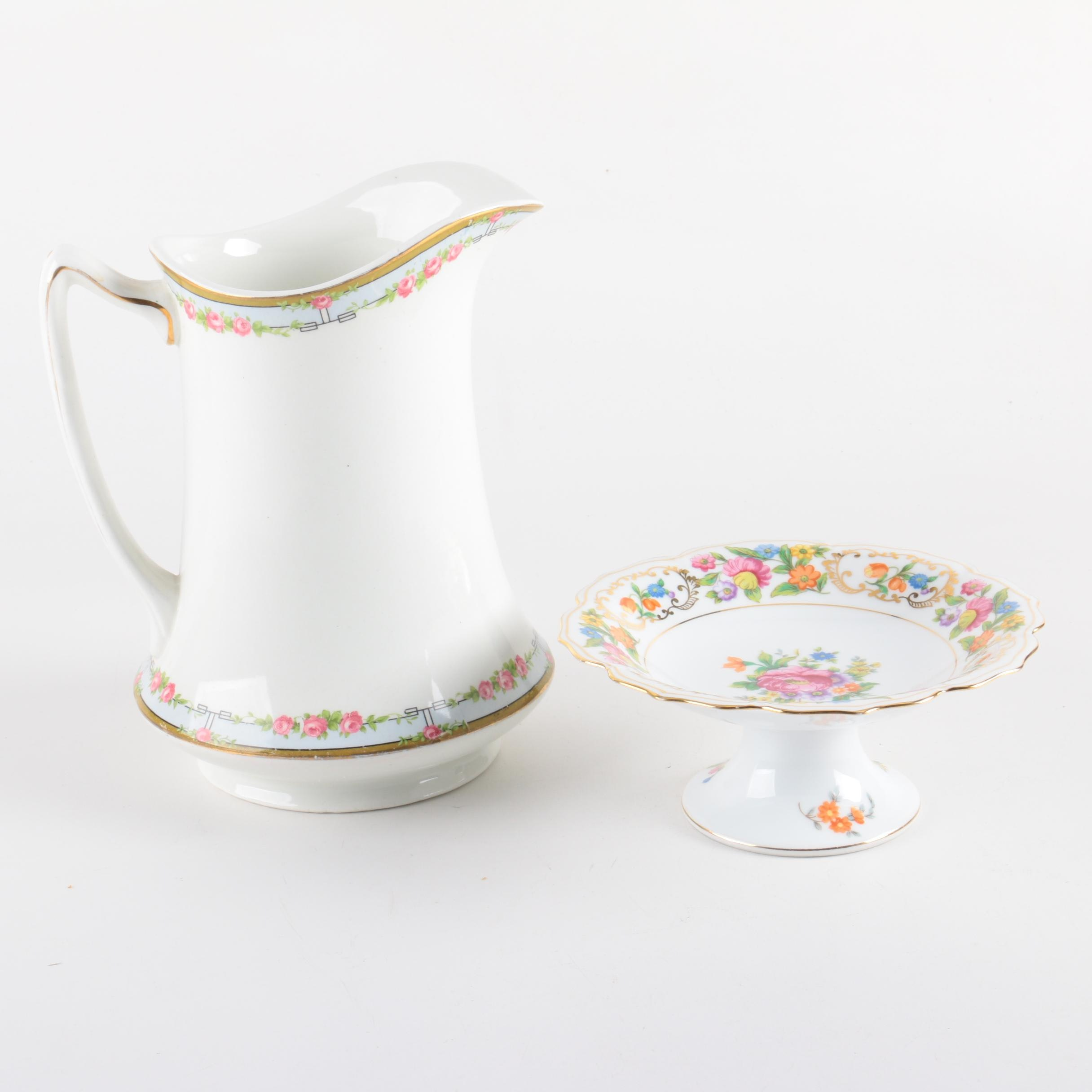 1914-25 W. H. Grindley Pitcher and Noritake Compote