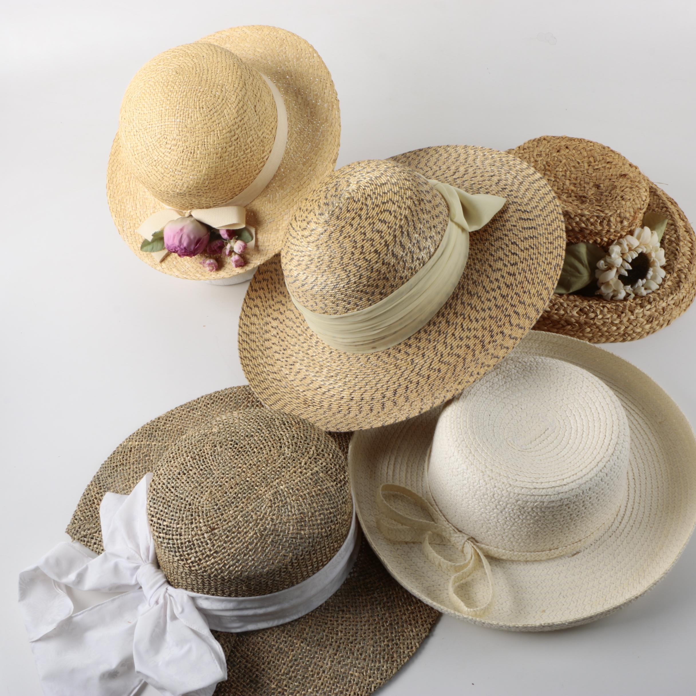 Women's Straw Sun Hats with Ribbons and Flowers Including Betmar