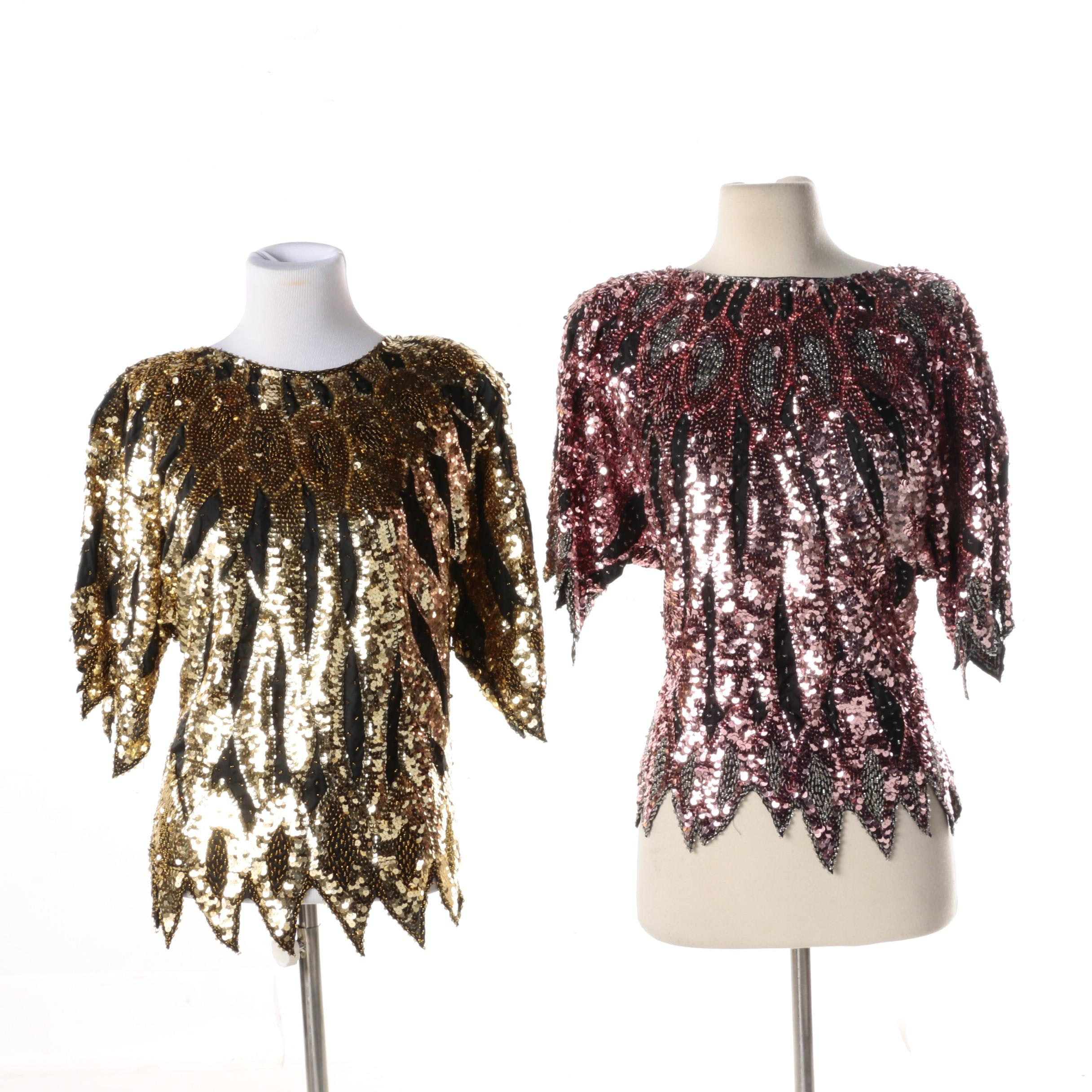 Women's Vintage Beaded and Spangled Silk Tops