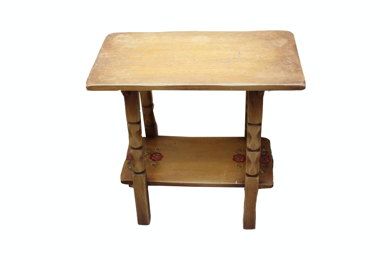 Hand Painted Oak End Table