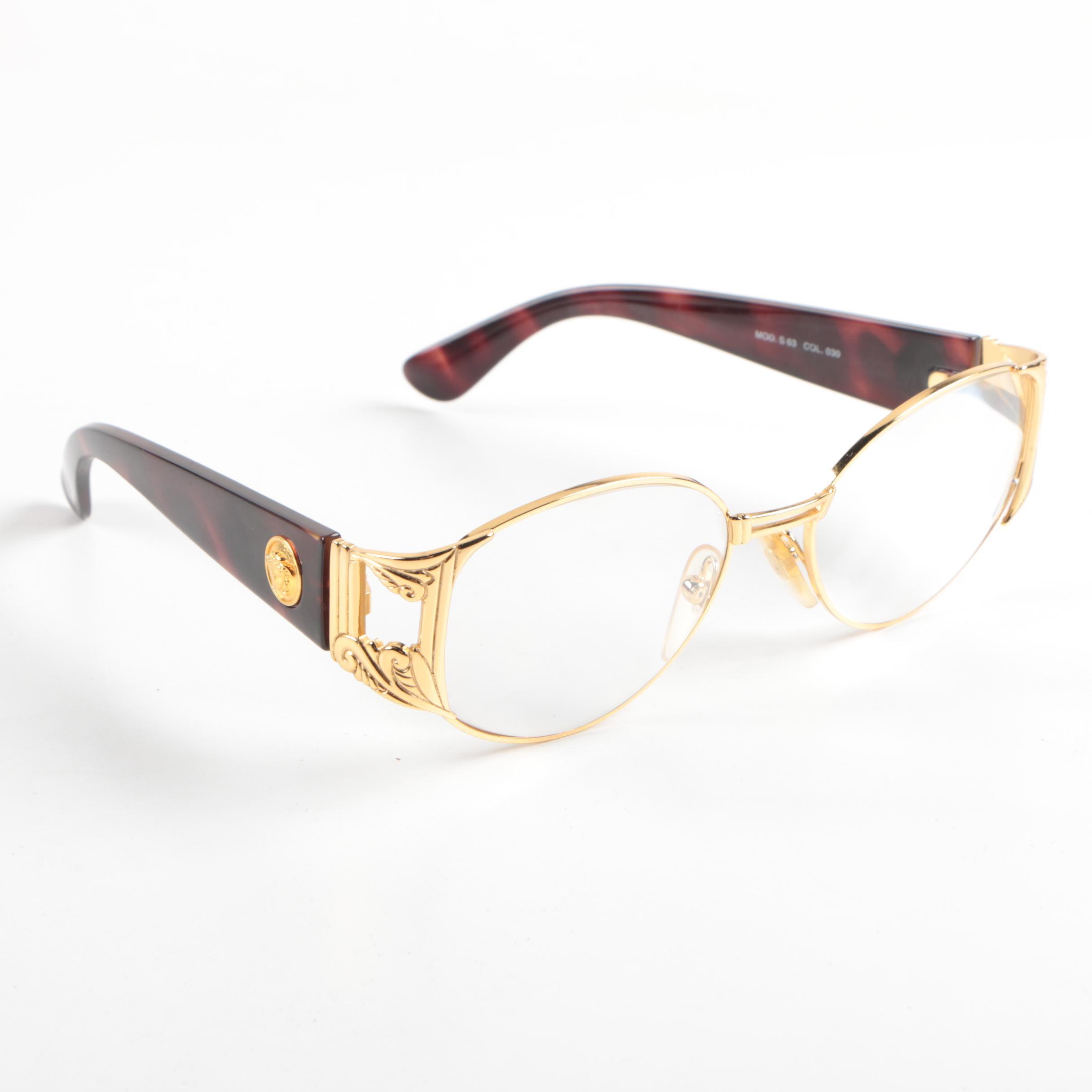 Gianni Versace Prescription Gold Tone and Plastic Framed Eyeglasses