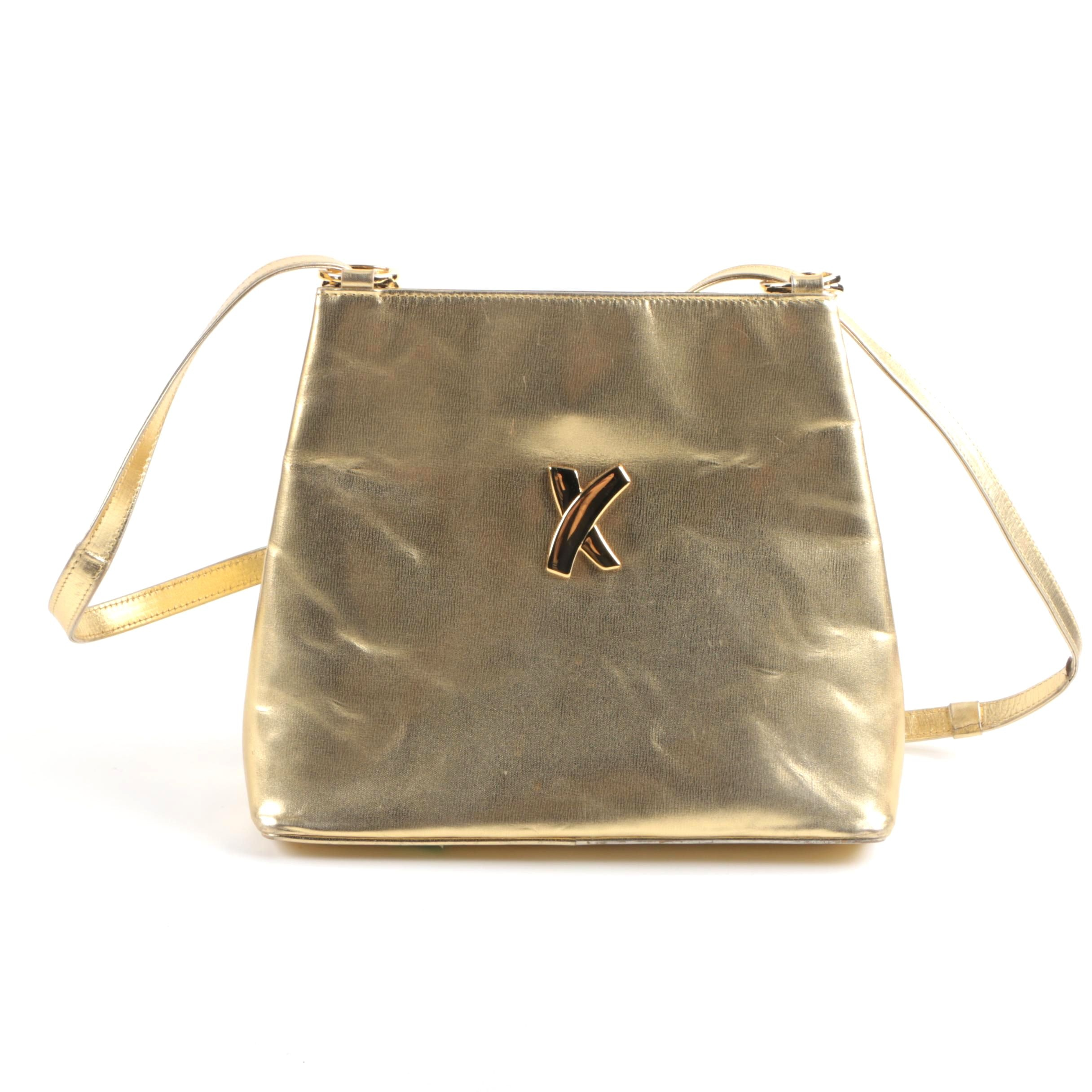 Paloma Picasso Gold Tone Leather Bag