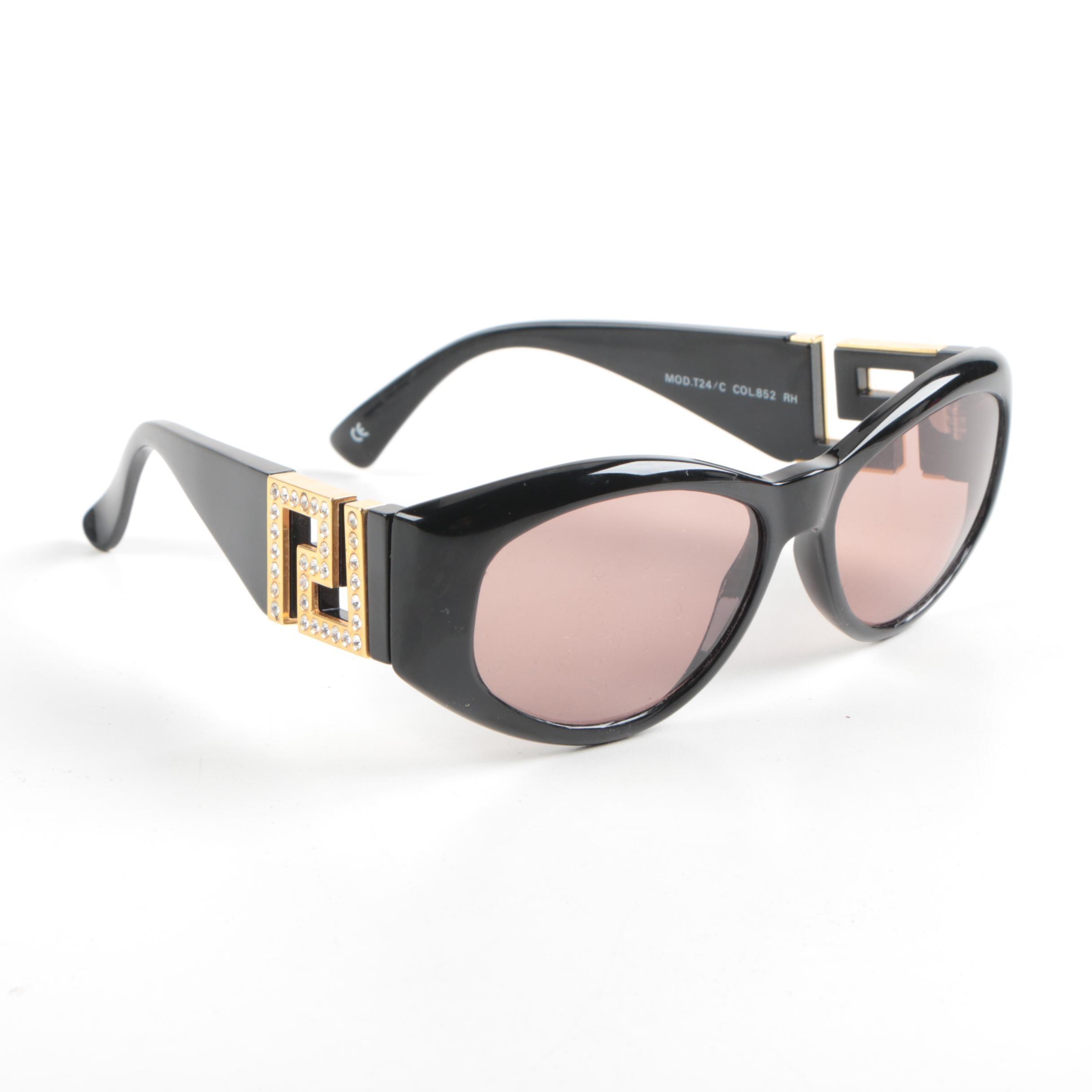 Women's Gianni Versace Black Rhinestone Sunglasses