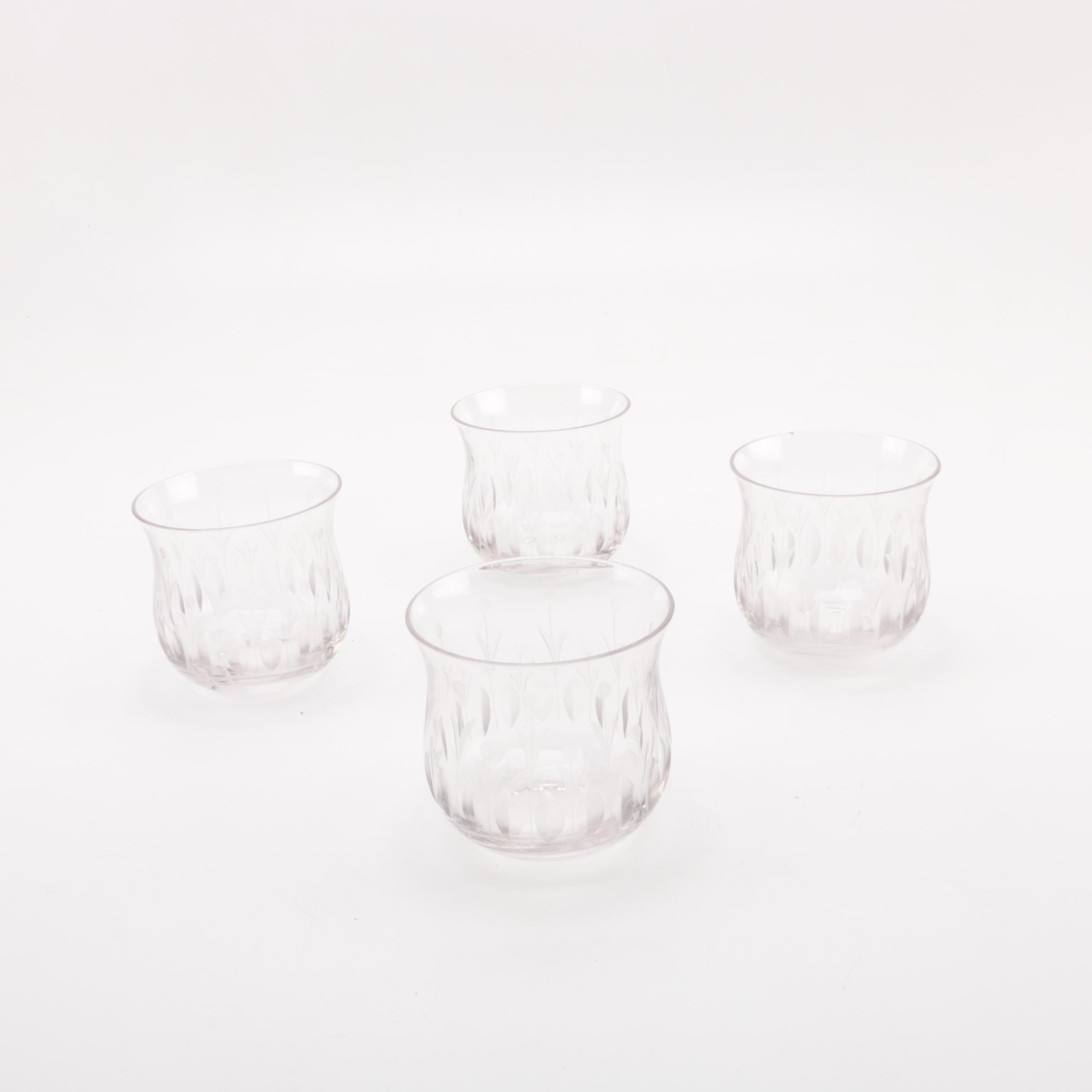 Rocks Glasses with Foliate Cut Accents