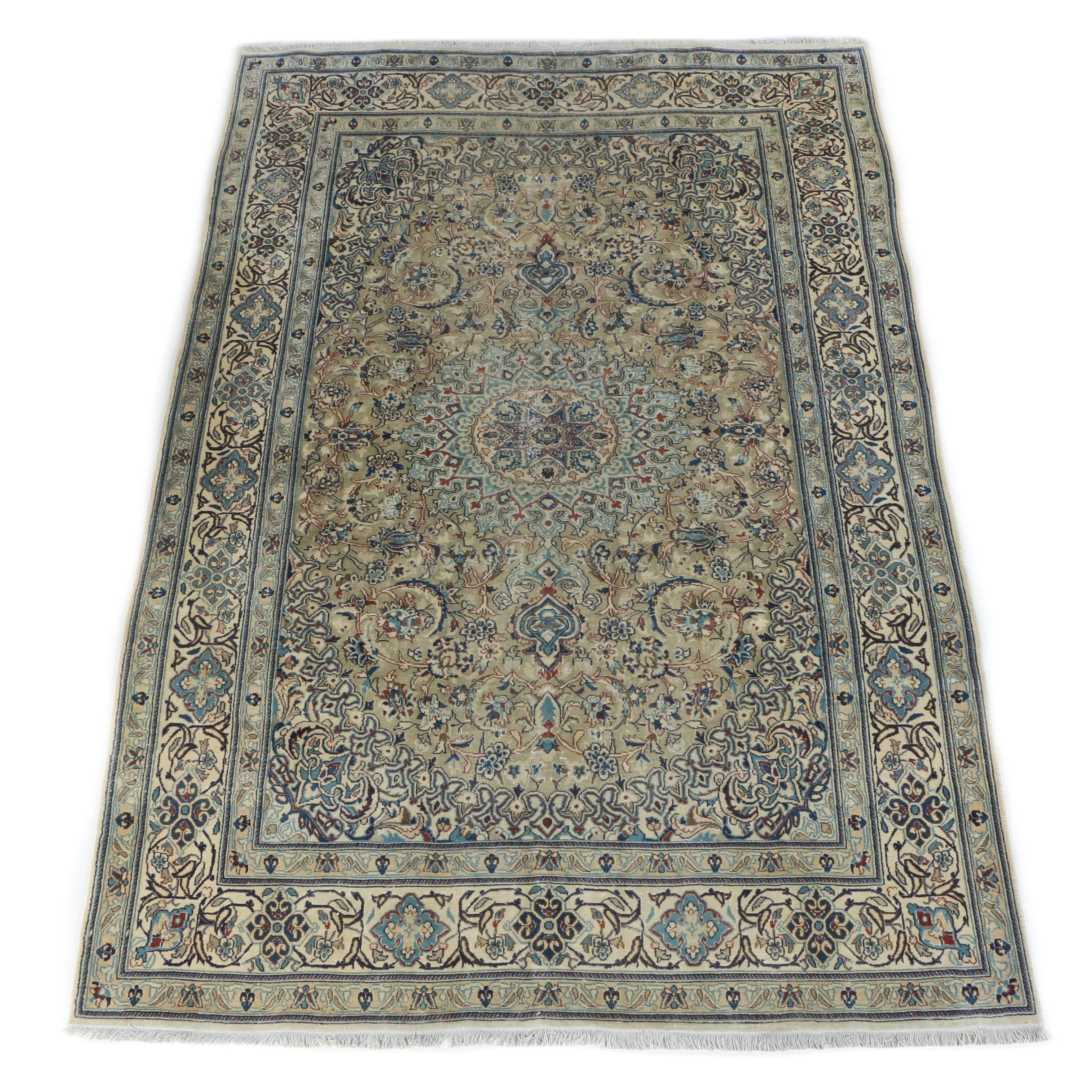 Hand-Knotted Persian Isfahan Wool Area Rug