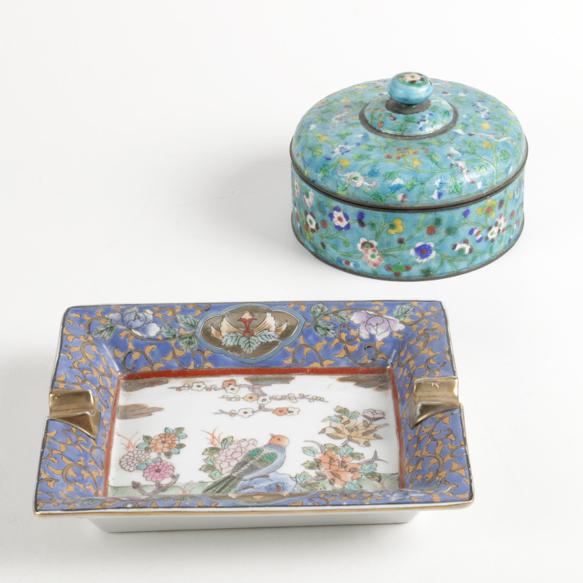 Chinese Porcelain Ash Receiver and Trinket Box