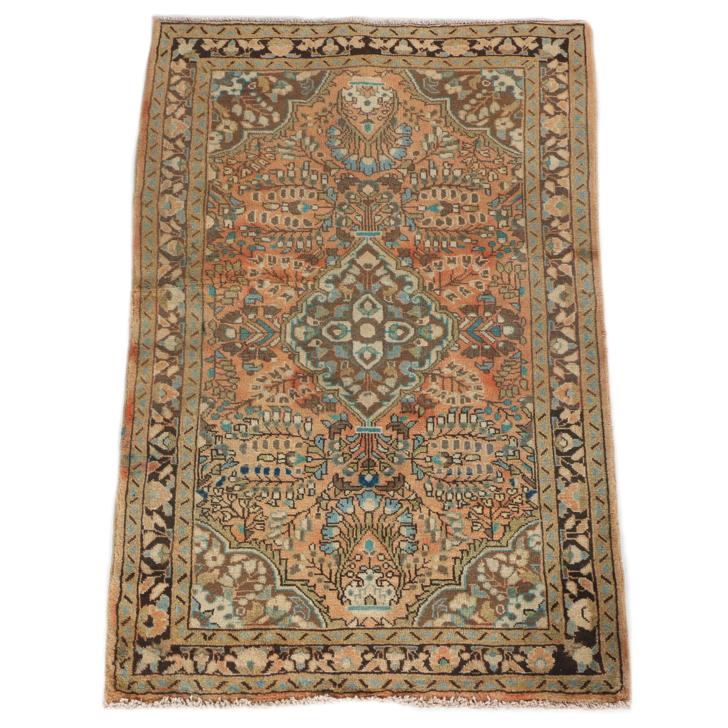 Vintage Hand-Knotted Persian Mehriban Wool Accent Rug
