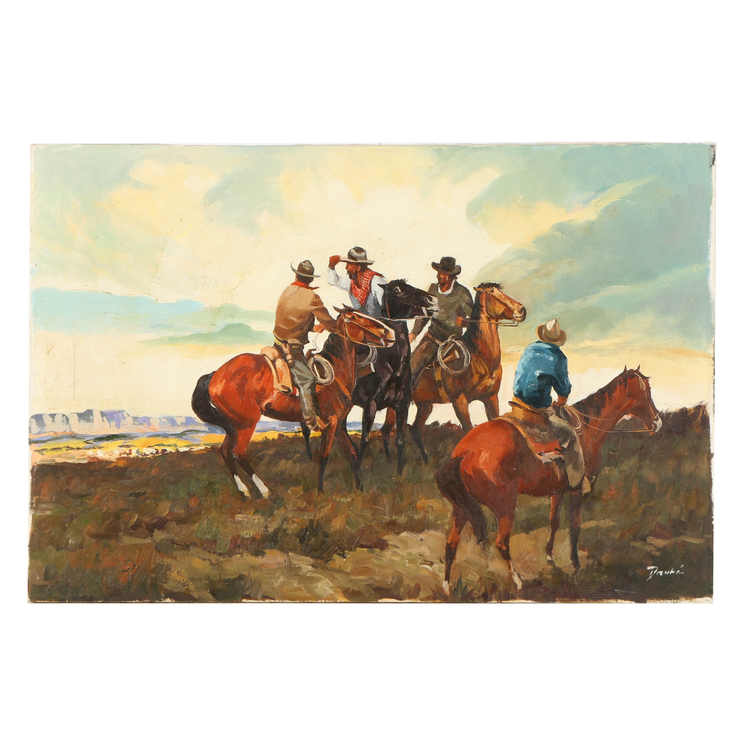 Daubé Oil Painting on Canvas of American Western Scene