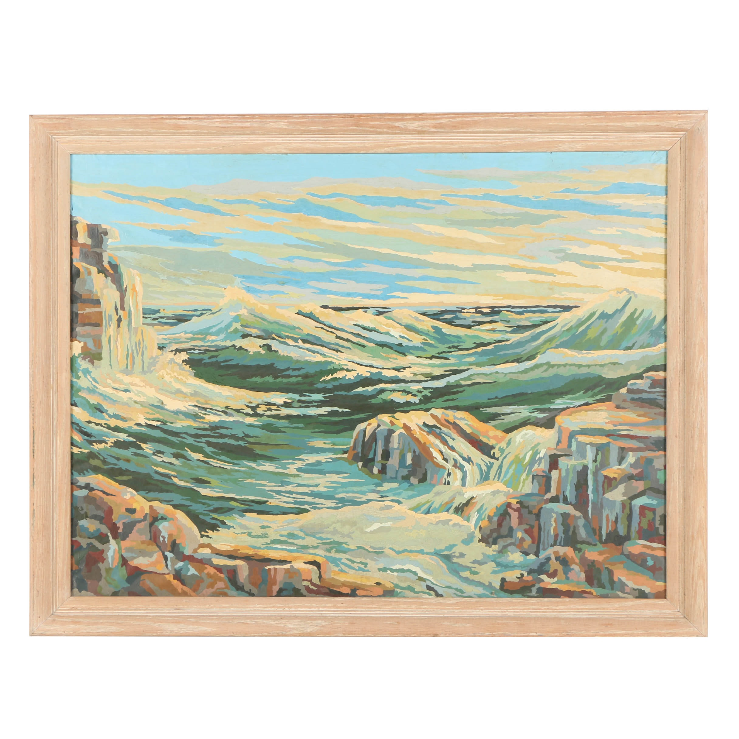 Framed Paint by Numbers Seascape