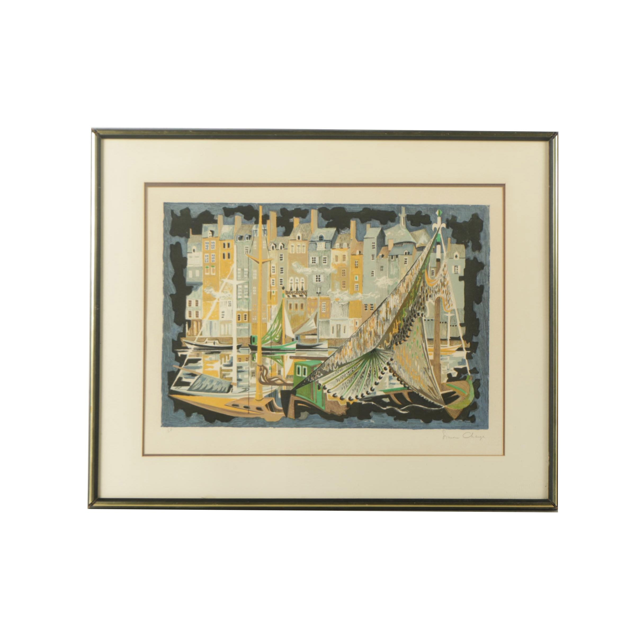 "Simon Chaye Circa 1970s Artist's Proof Lithograph on Paper ""French Marina"""