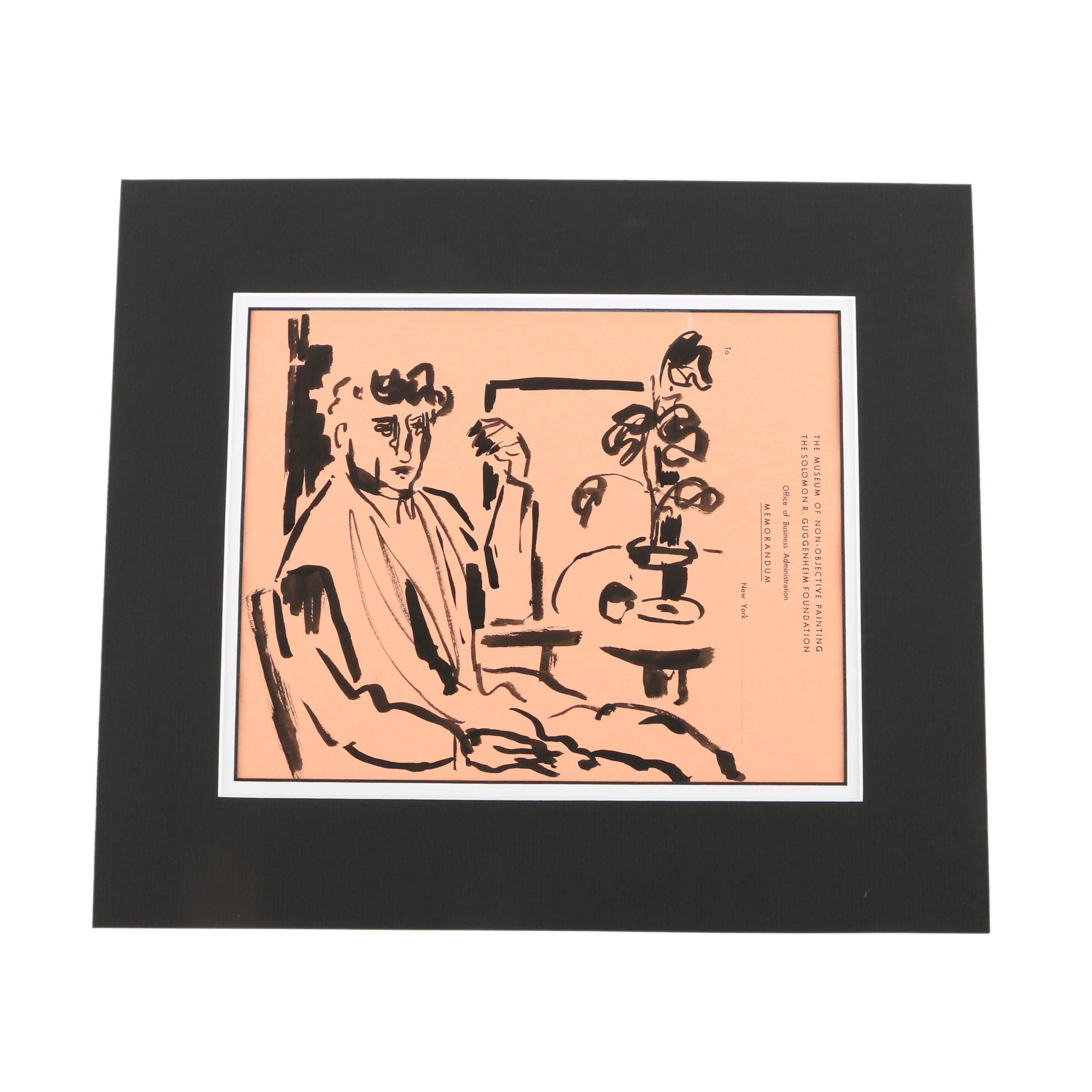Phillip Callahan Ink Drawing of a Figure on a Guggenheim Memorandum