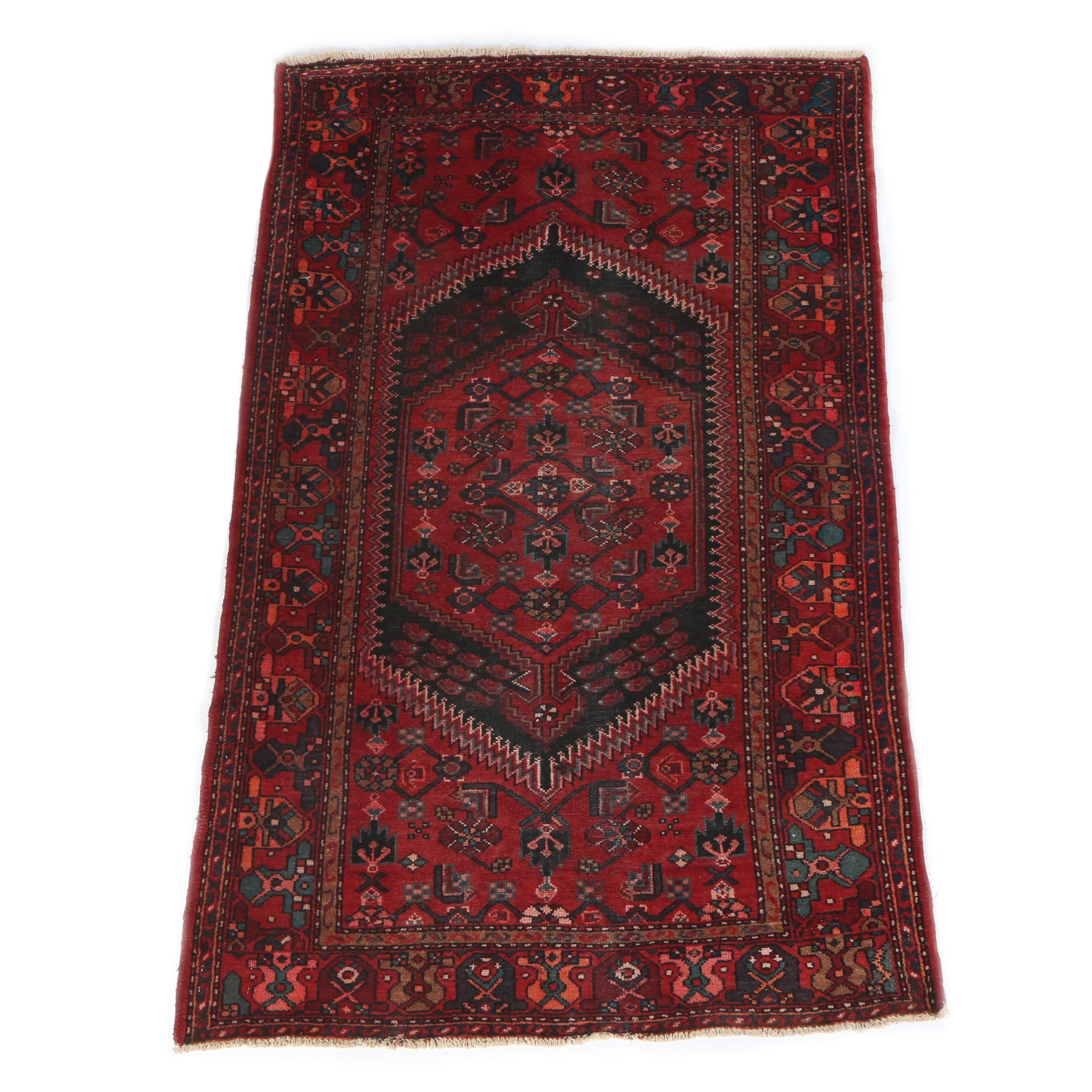 Vintage Hand-Knotted Persian Kurdish Bijar Wool Area Rug