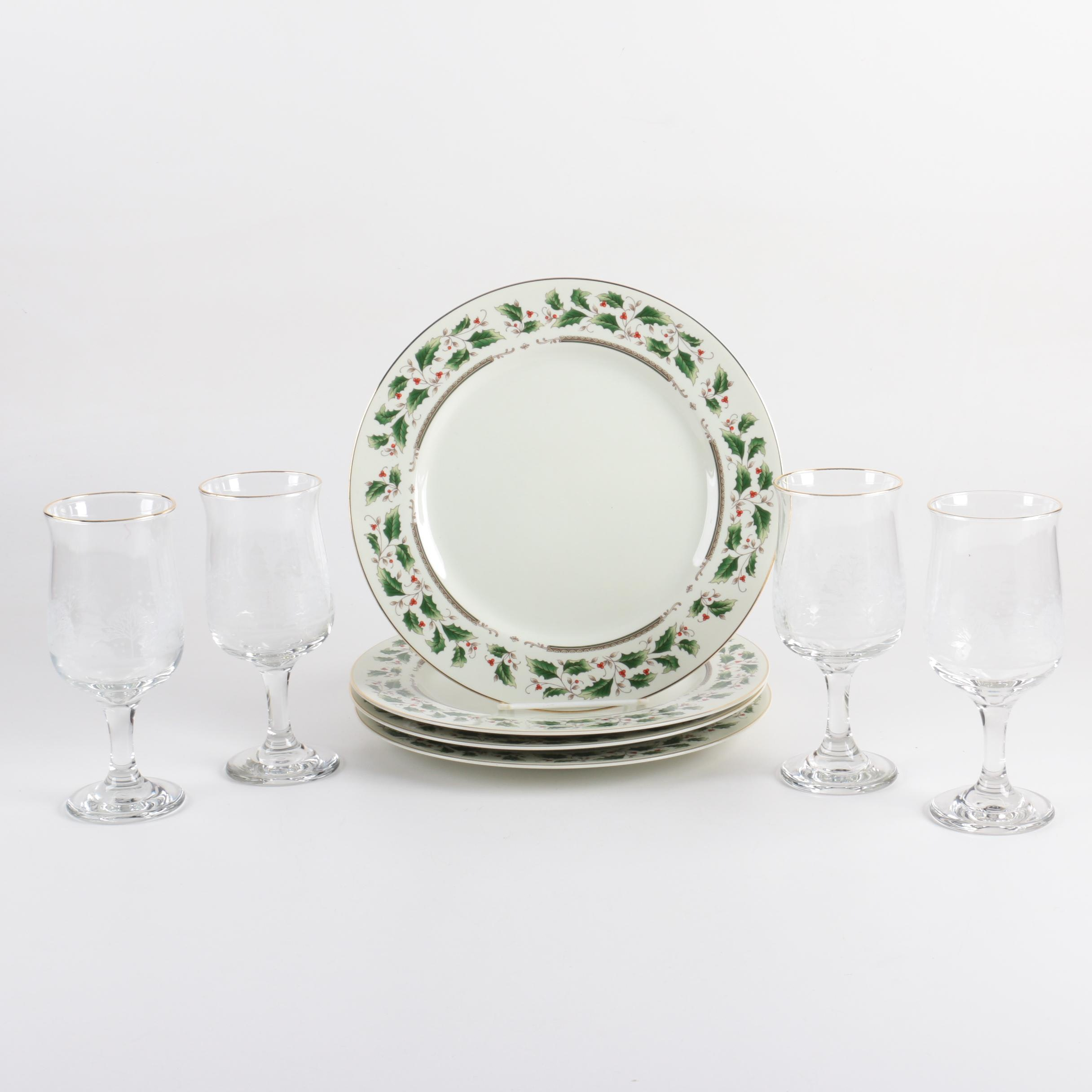 "Royal Limited ""Holly Holiday"" Dinner Plates with Etched Glass Goblets"