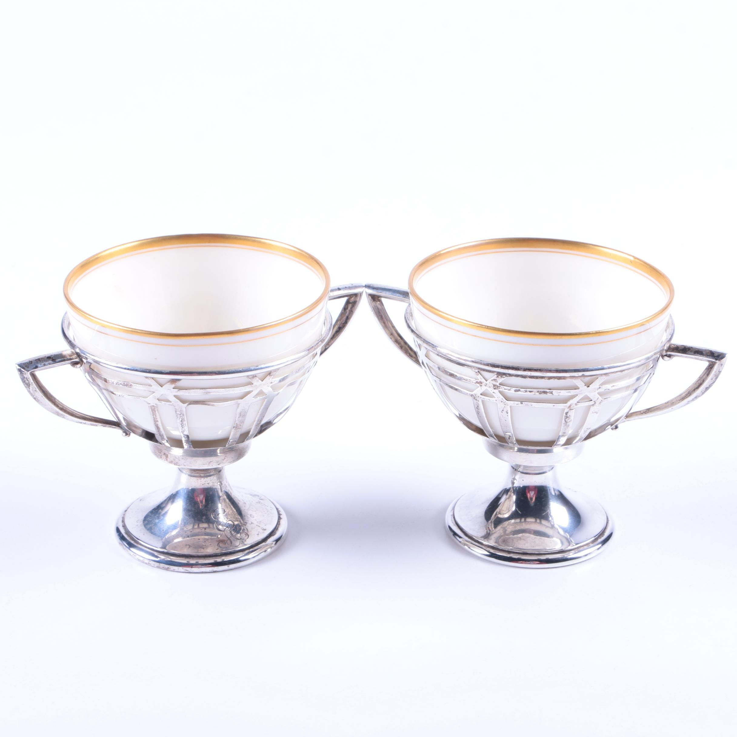 Frank M. Whiting & Co. Sterling Sherbet Cups with Lenox Porcelain Liners