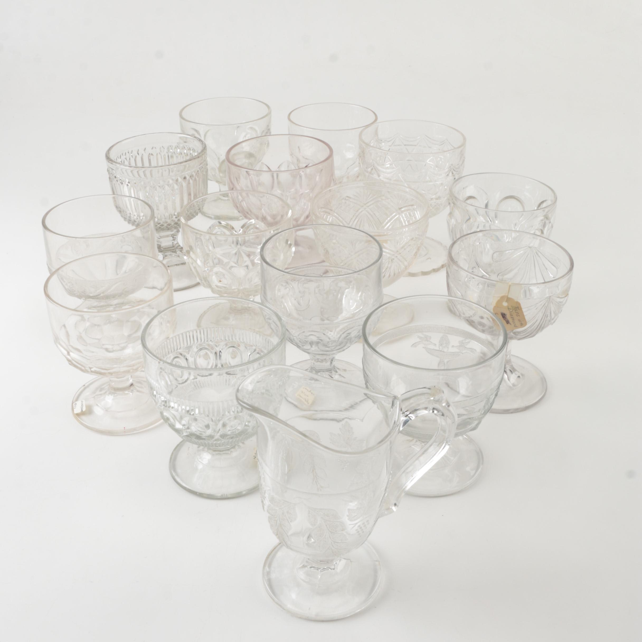 """EAPG including King and Sons """"Diamond and Prism"""" Goblet, circa 1870"""