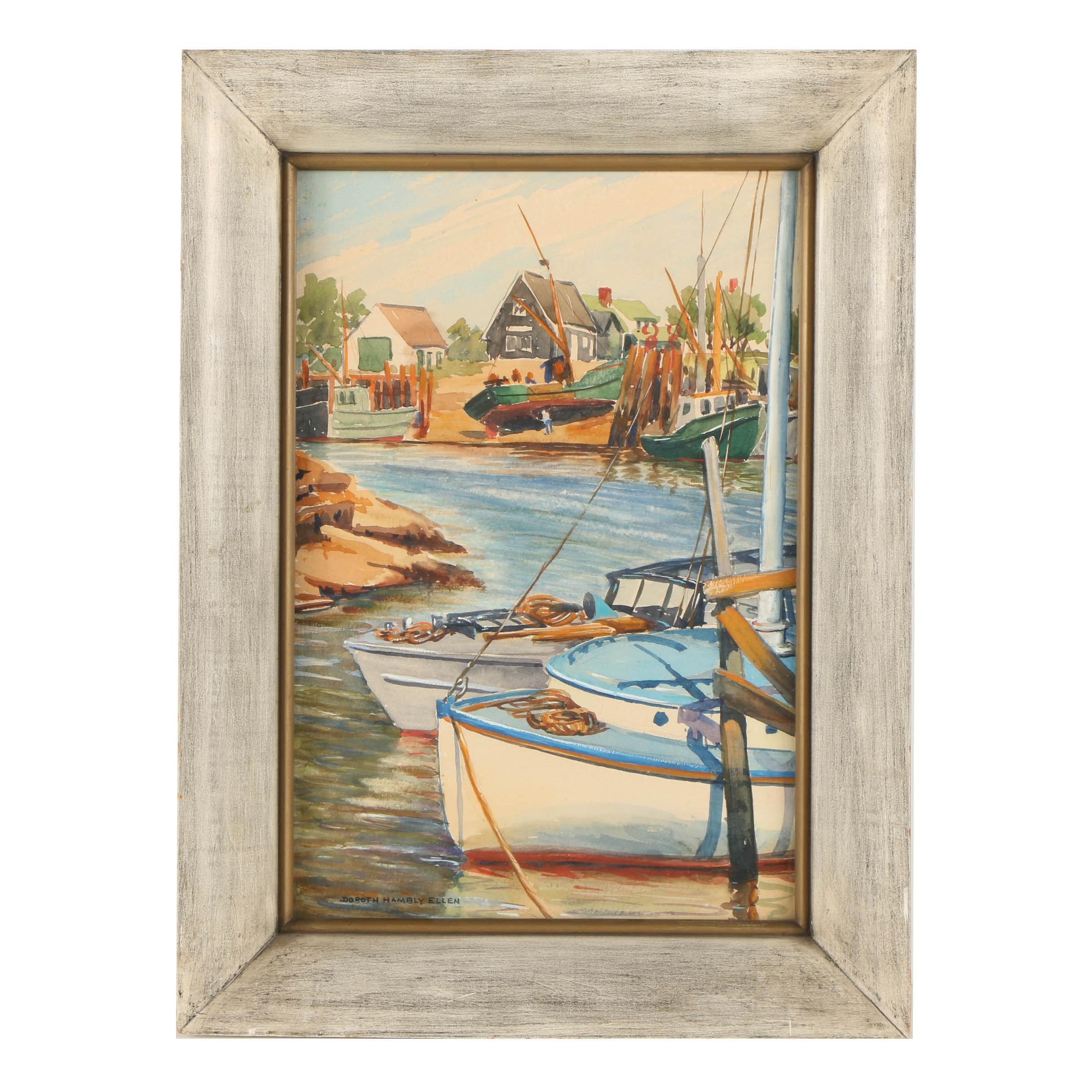 Dorothy Hambly Ellen Watercolor Painting on Paper of Harbor Scene
