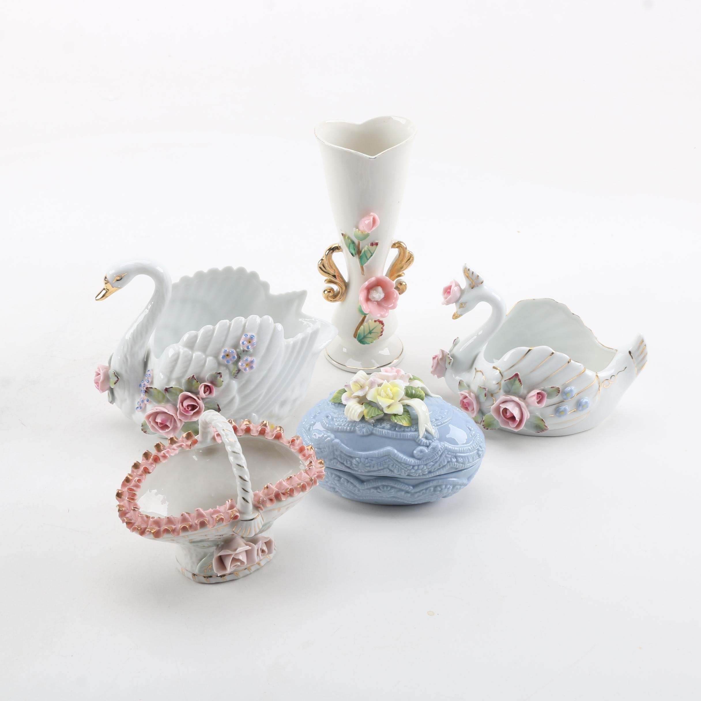 Hand Painted Porcelain Figurines Featuring Ucagco Japan