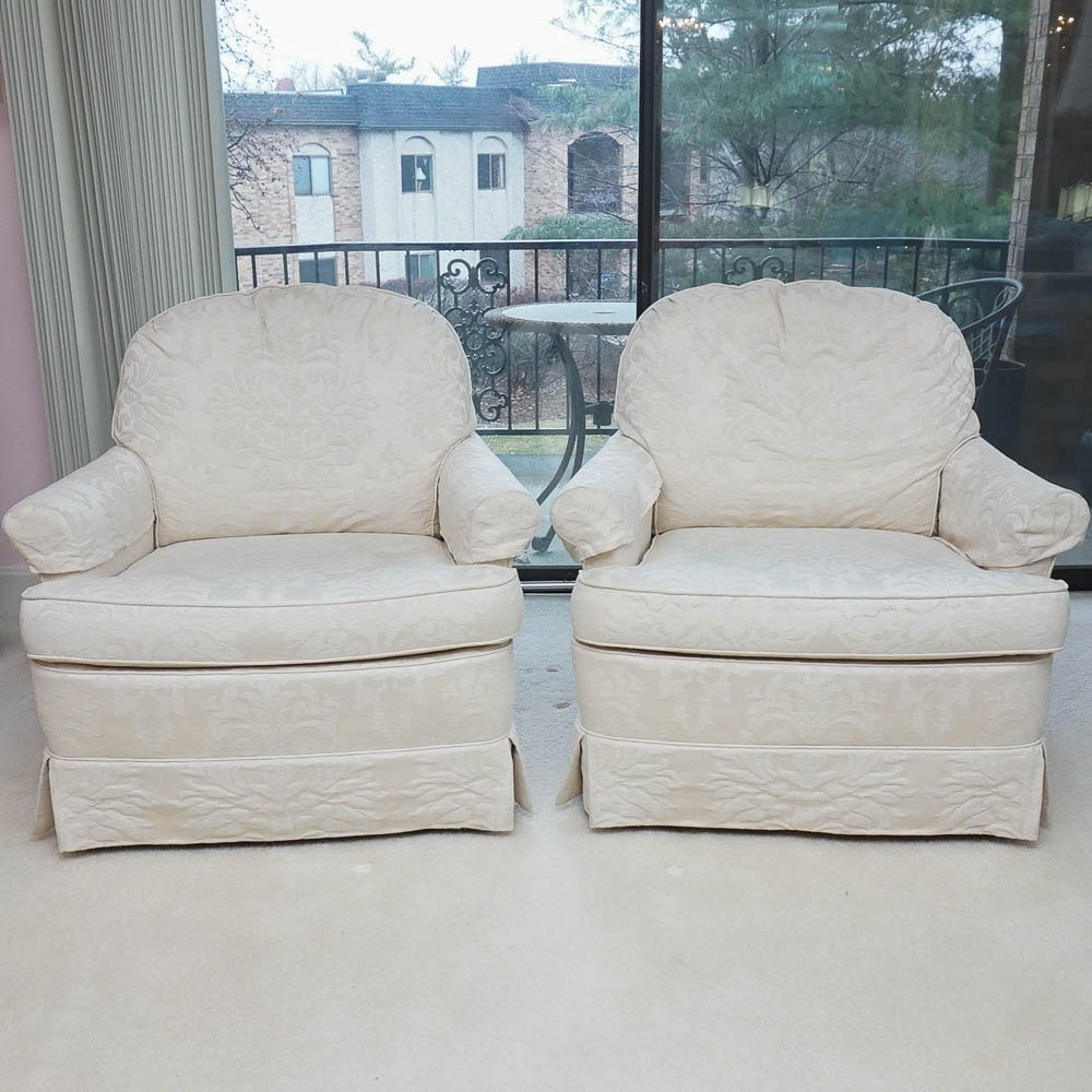 Pair of Upholstered Club Chairs by Woodmark Originals