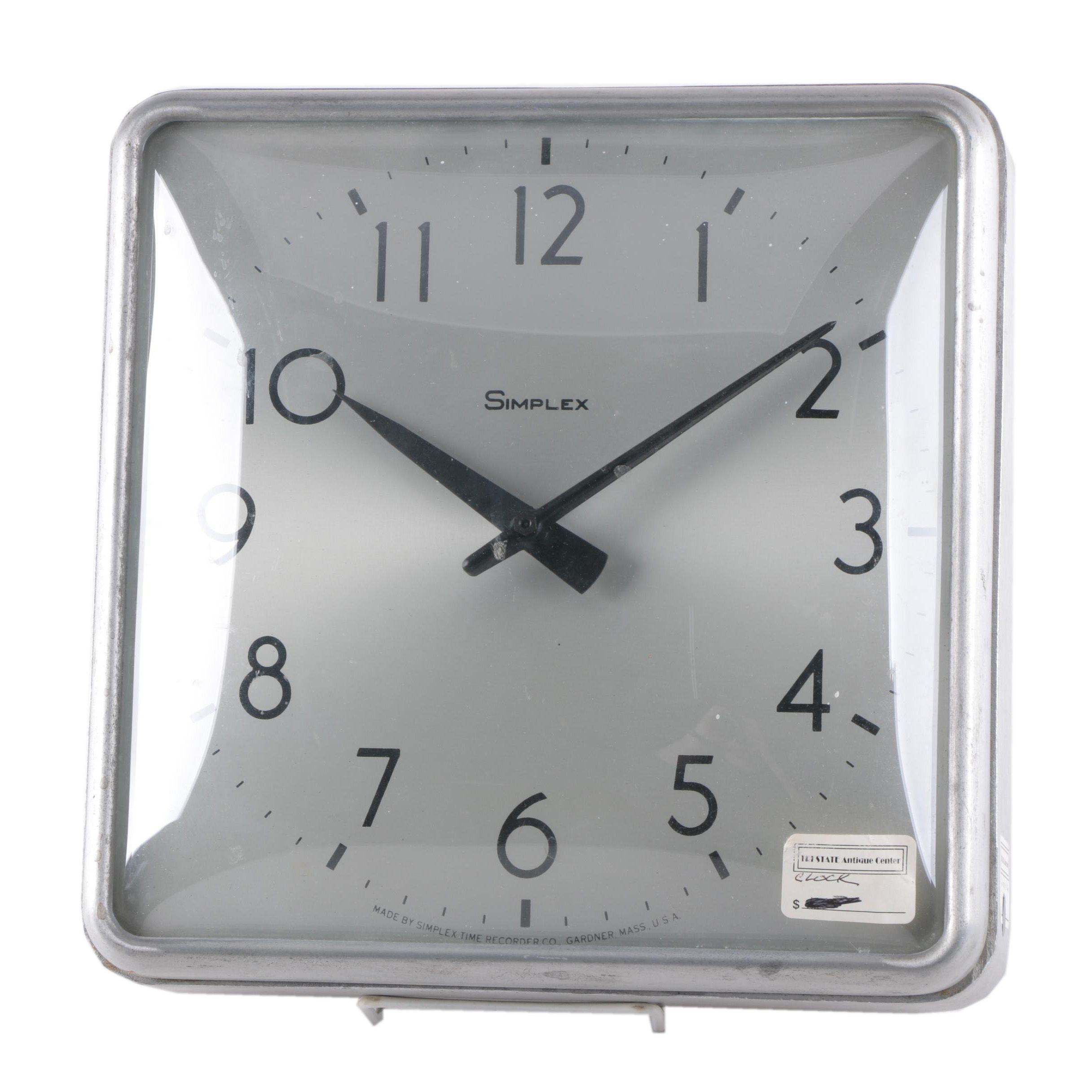 Vintage Simplex Electrical Wall Clock