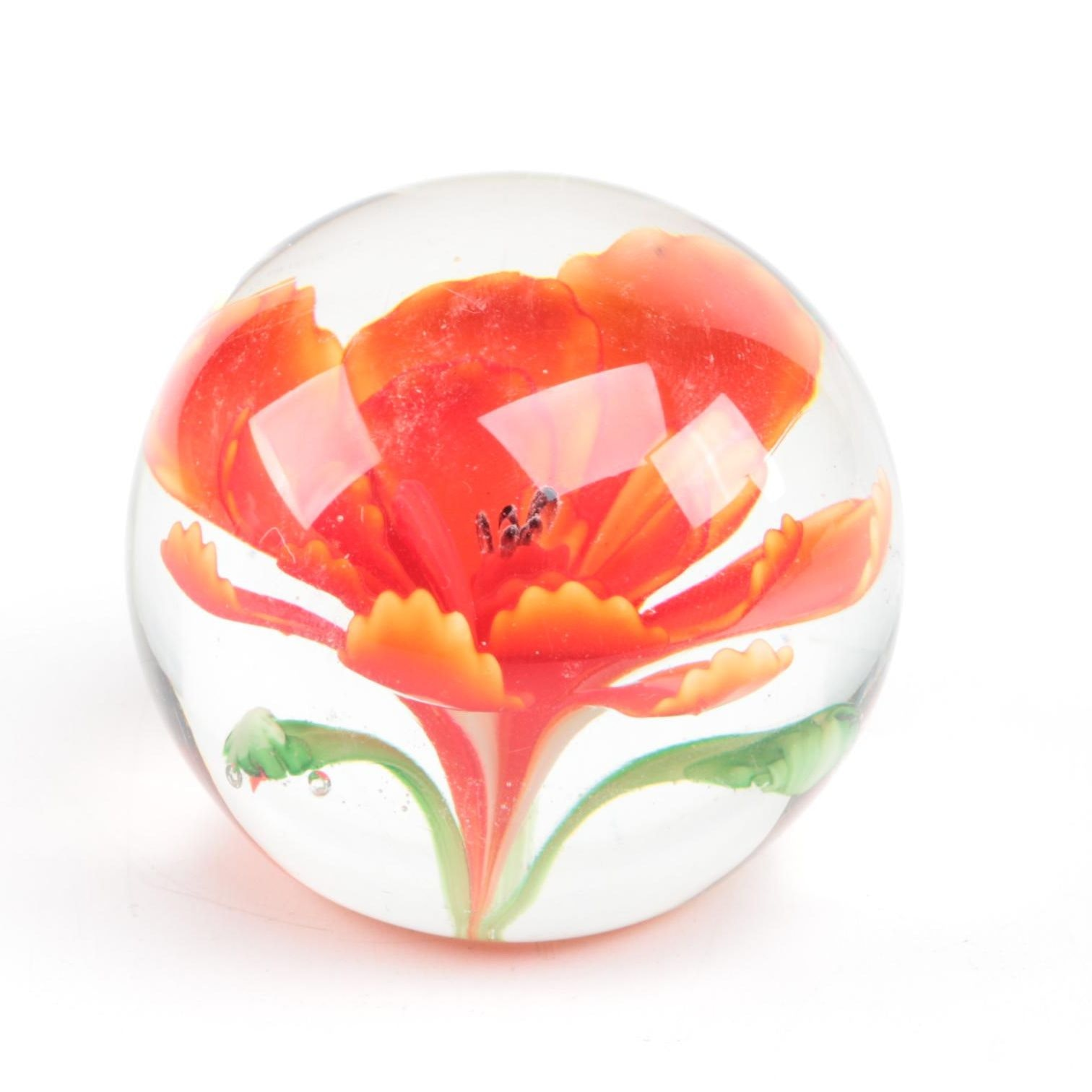 Blown Glass Floral Paperweight