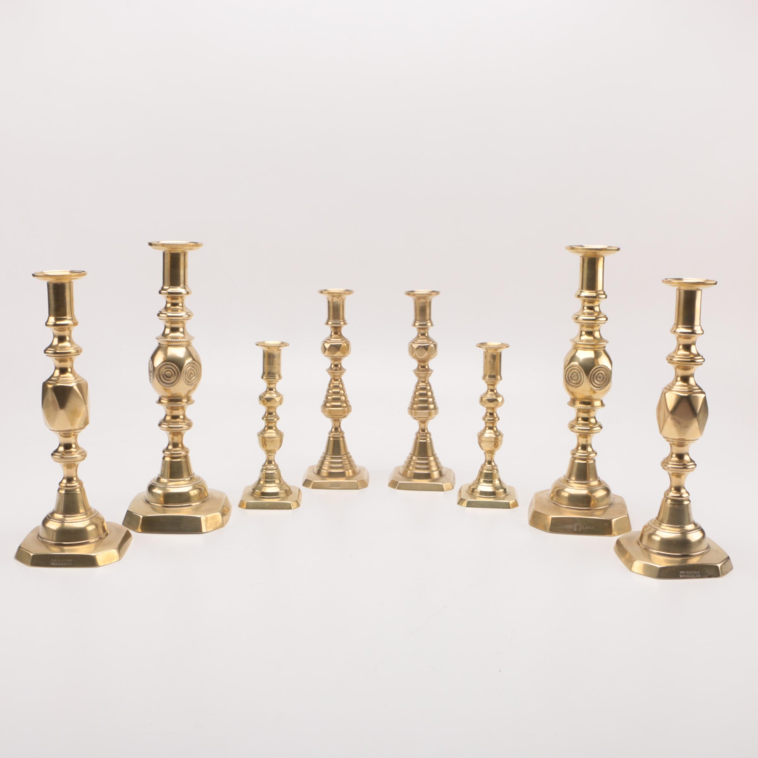 Semi-Antique to Antique Brass Push Up Candlesticks