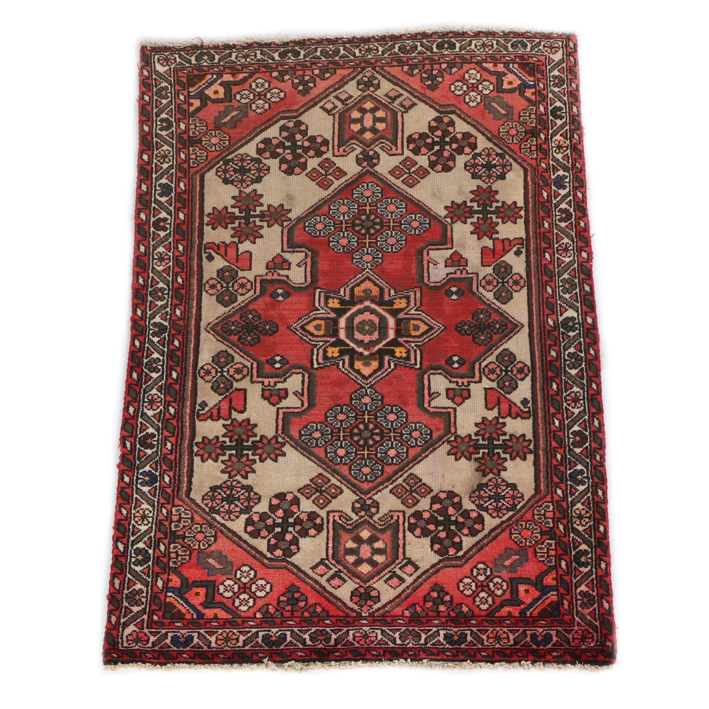 Semi-Antique Persian Handwoven Heriz Wool Area Rug