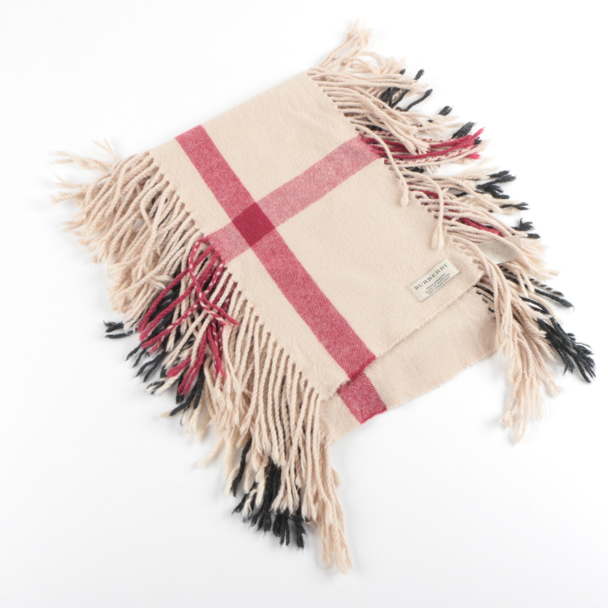 Burberry Plaid Double Fringe Cashmere Scarf