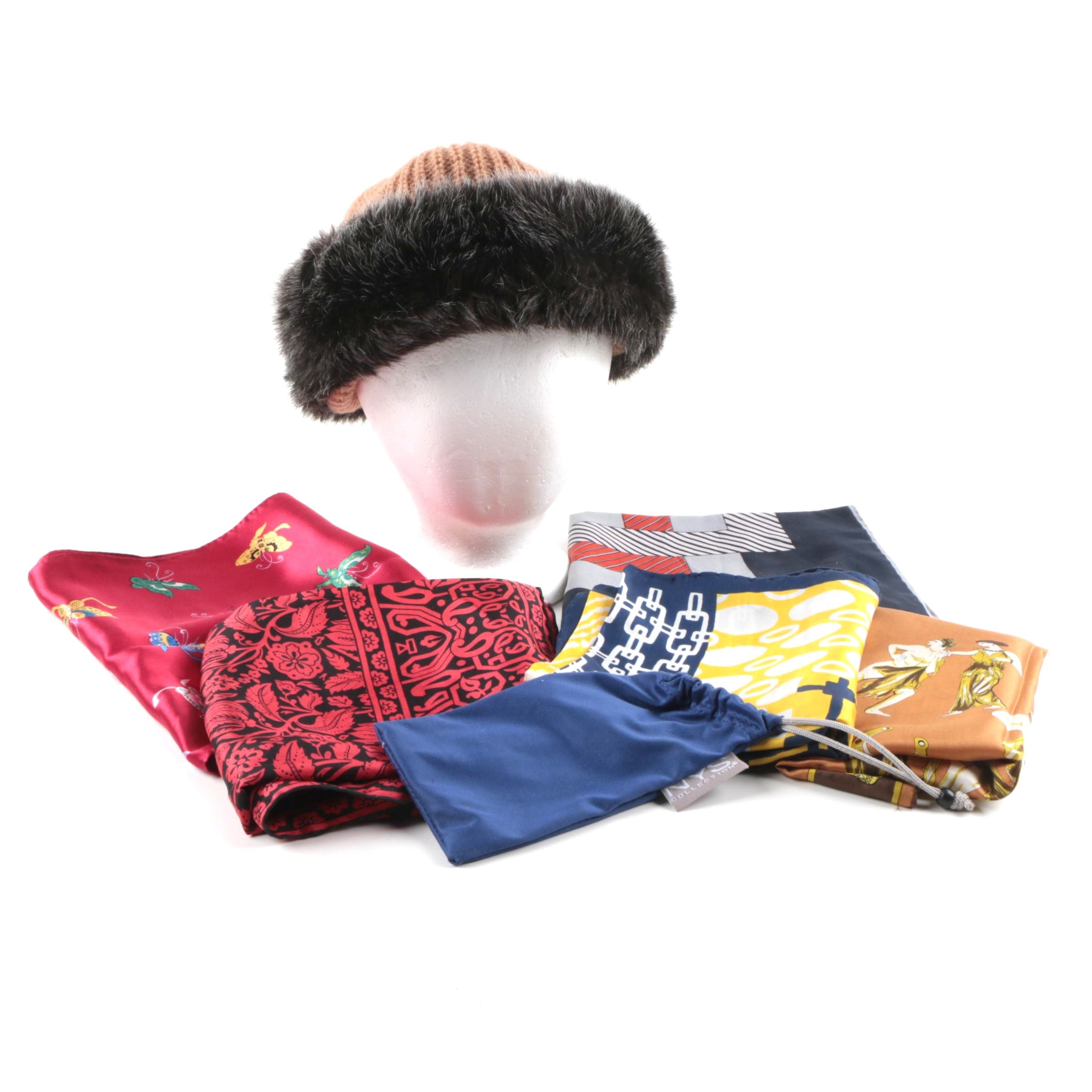 Women's Accessories Including Faux Fur Hat and Vintage Scarves