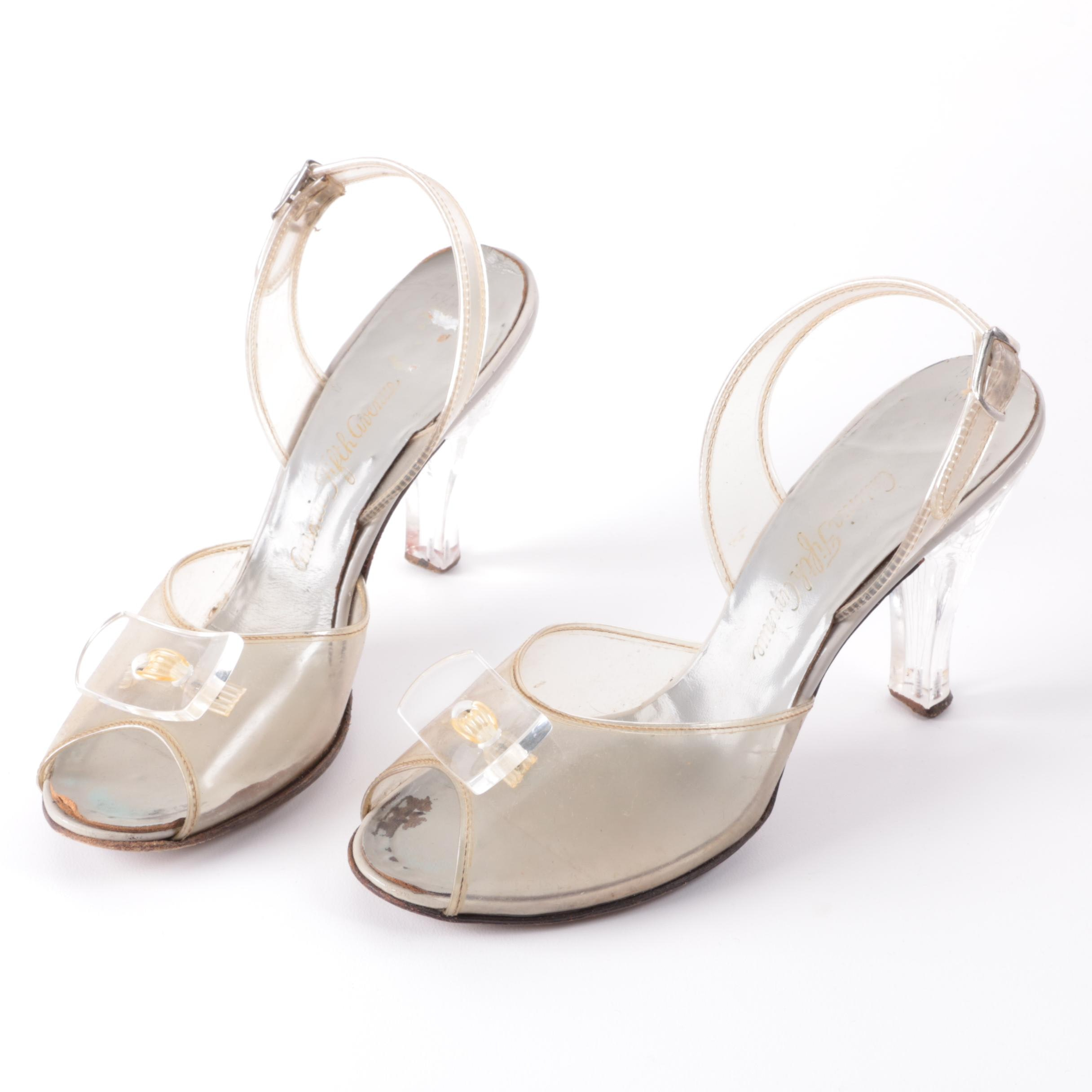 Circa 1950s Vintage Ansonia Fifth Avenue Clear Vinyl High Heels