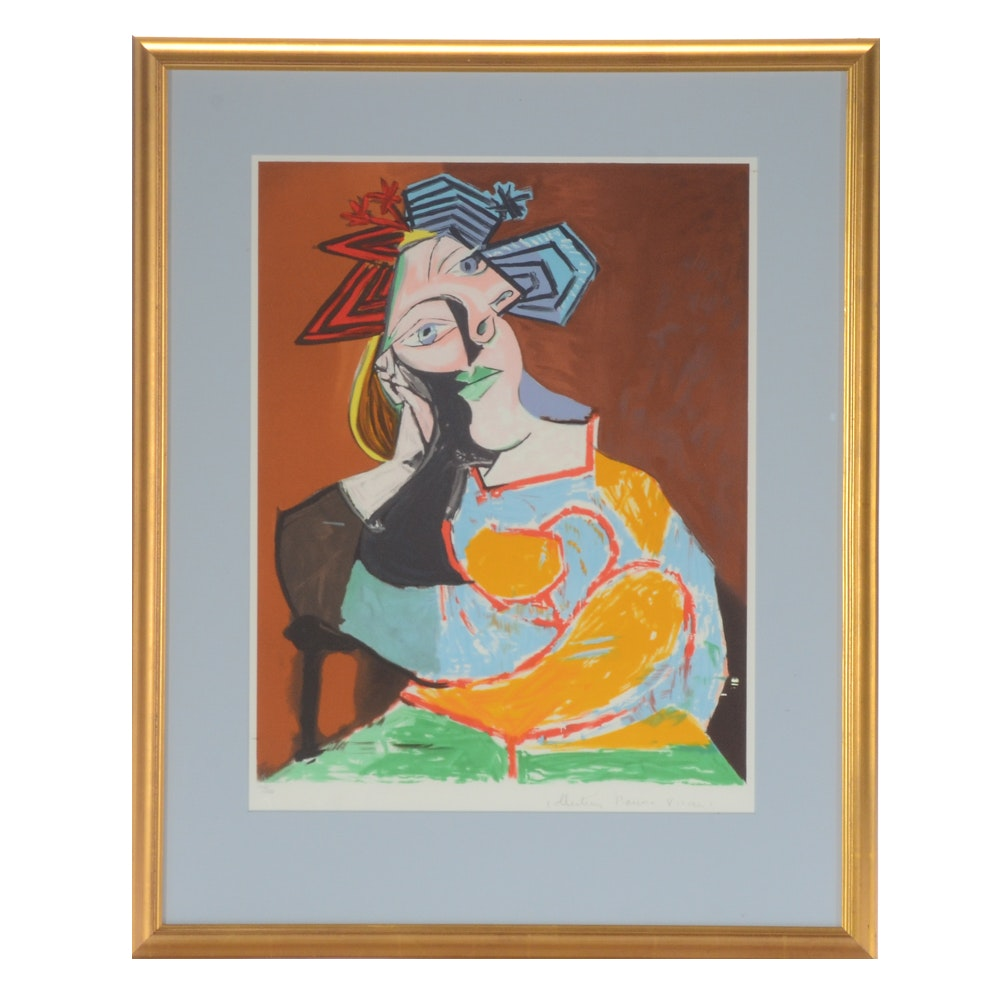 """Limited Edition Lithograph after Pablo Picasso """"Femme Accoudee"""""""
