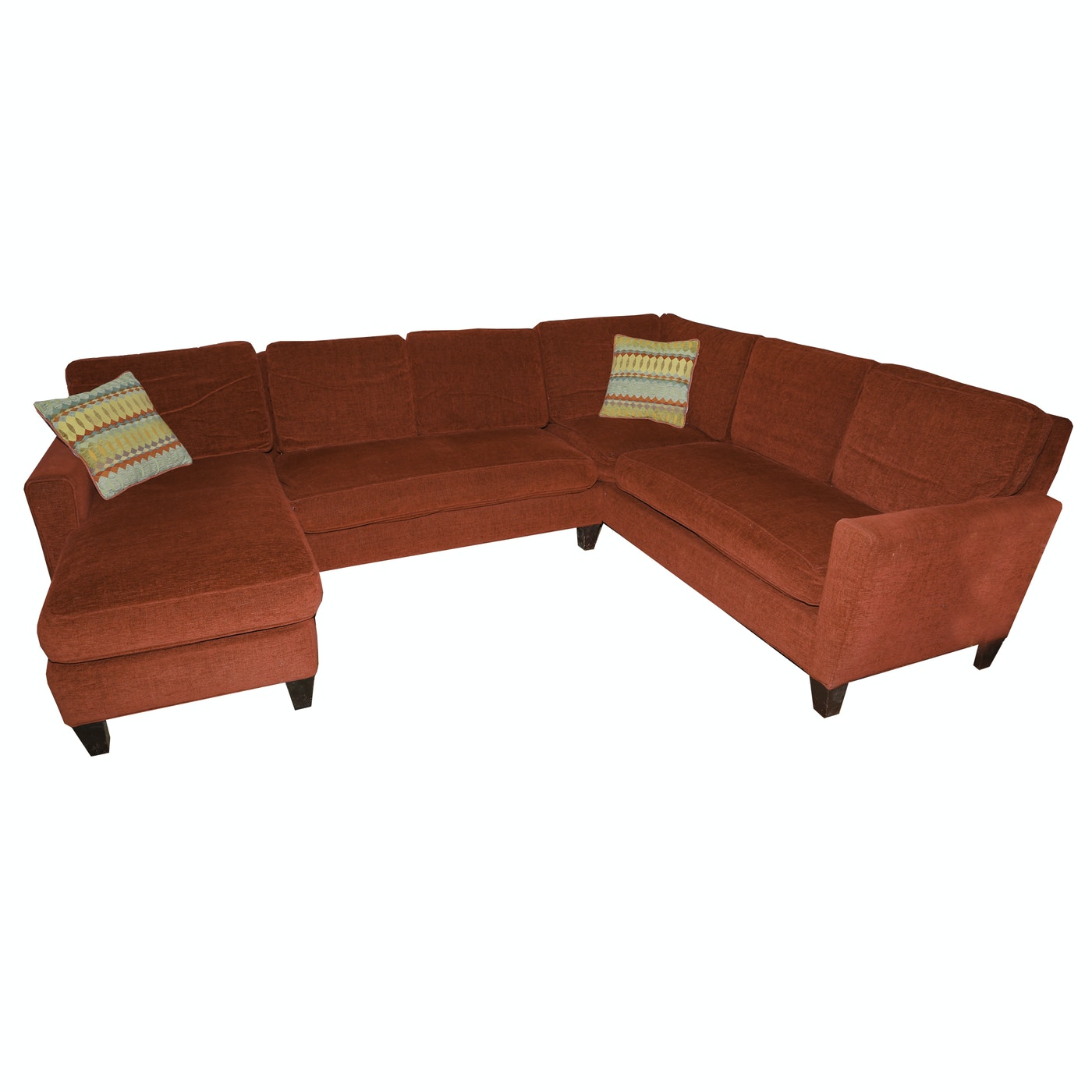 Red upholstered sectional sofa by storehouse furniture ebth for Storehouse furniture